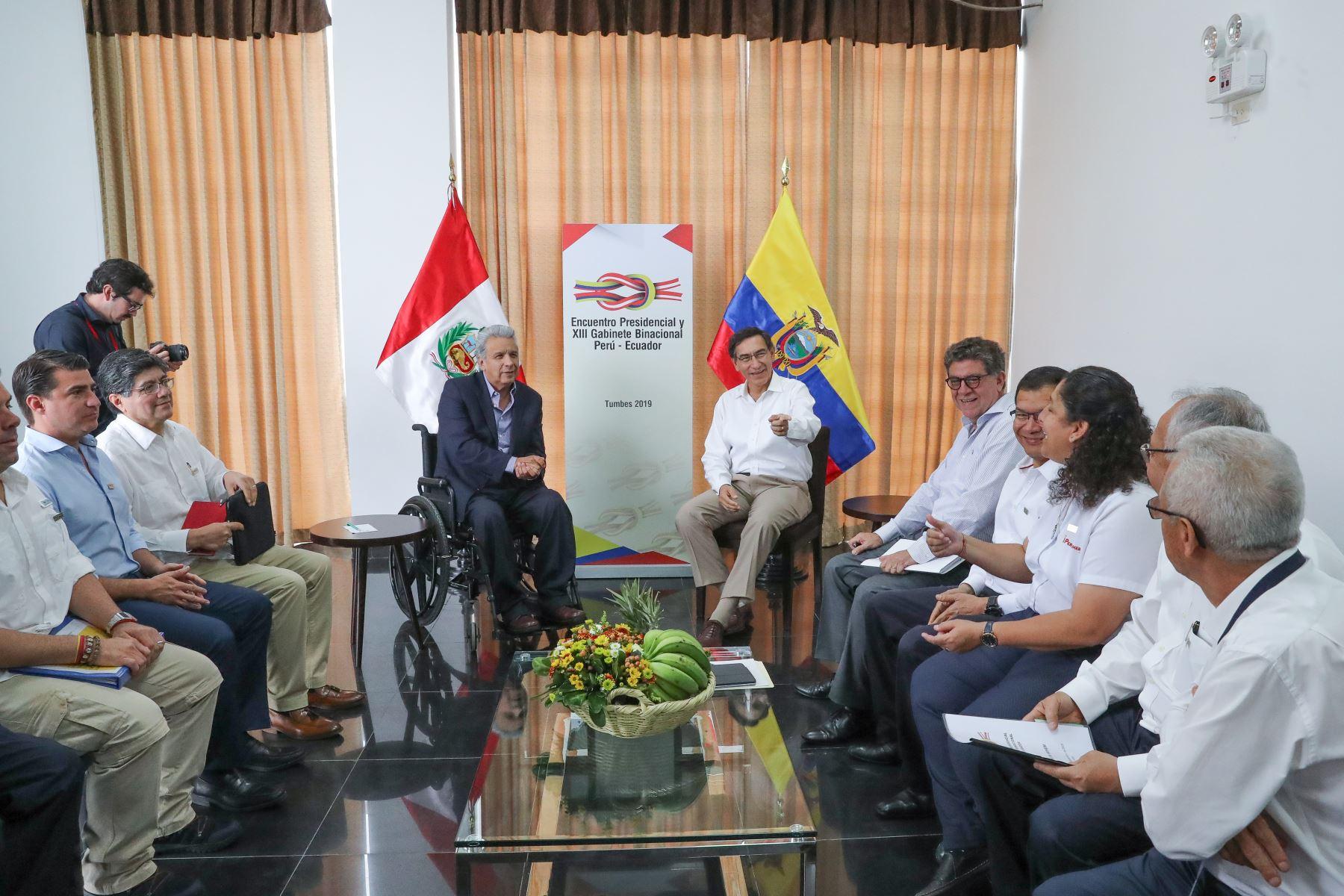 Jefes de Estado Perú y Ecuador se reúnen en Tumbes, previo a su participación en el Encuentro Presidencial y XIII Gabinete Binacional Perú – Ecuador. Foto: ANDINA/ Prensa Presidencia