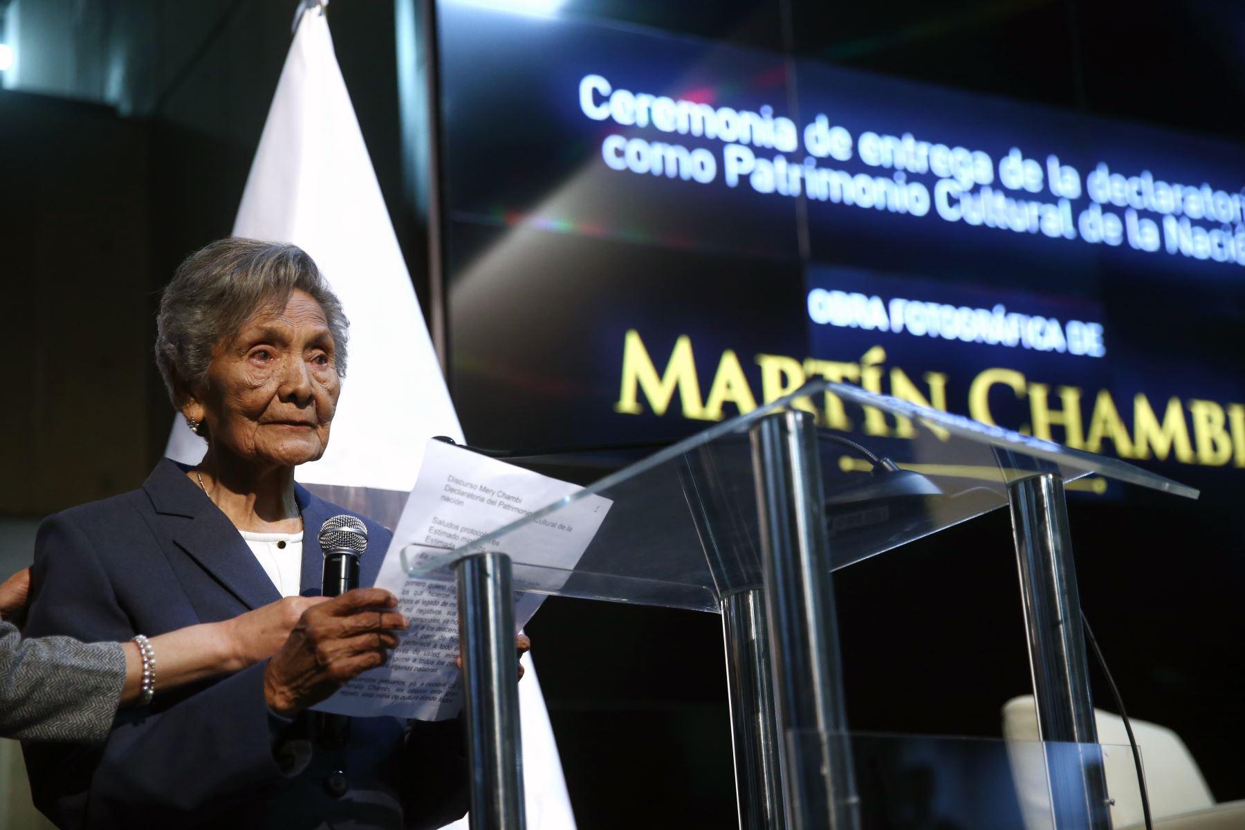 Mari Chambi, Ministerio de Cultura entrega la resolución Viceministerial correspondiente a la declaratoria de la obra fotográfica de Martín Chambi como patrimonio Cultural de la Nación. Foto: ANDINA/Vidal Tarqui
