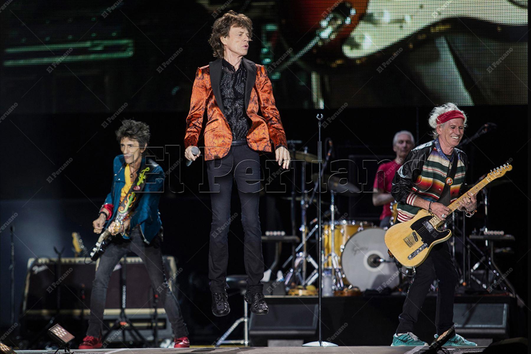 Lima - 6 marzo 2016 / La legendaria banda Rolling Stones con su líder Mick Jagger  en  su concierto en el Estadio Monumental de Lima, presentación esperada por sus fanáticos peruanos durante varias décadas. Foto: Diario El Peruano / Carlos Lezama