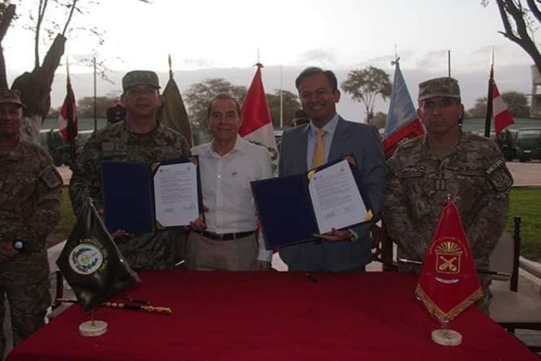 El Ejército del Perú y la Municipalidad de Piura suscribieron un convenio cuyo objetivo es ejecutar el proyecto de mejoramiento de transitabilidad peatonal en las aéreas adyacentes y circundantes al cuartel Inclán.