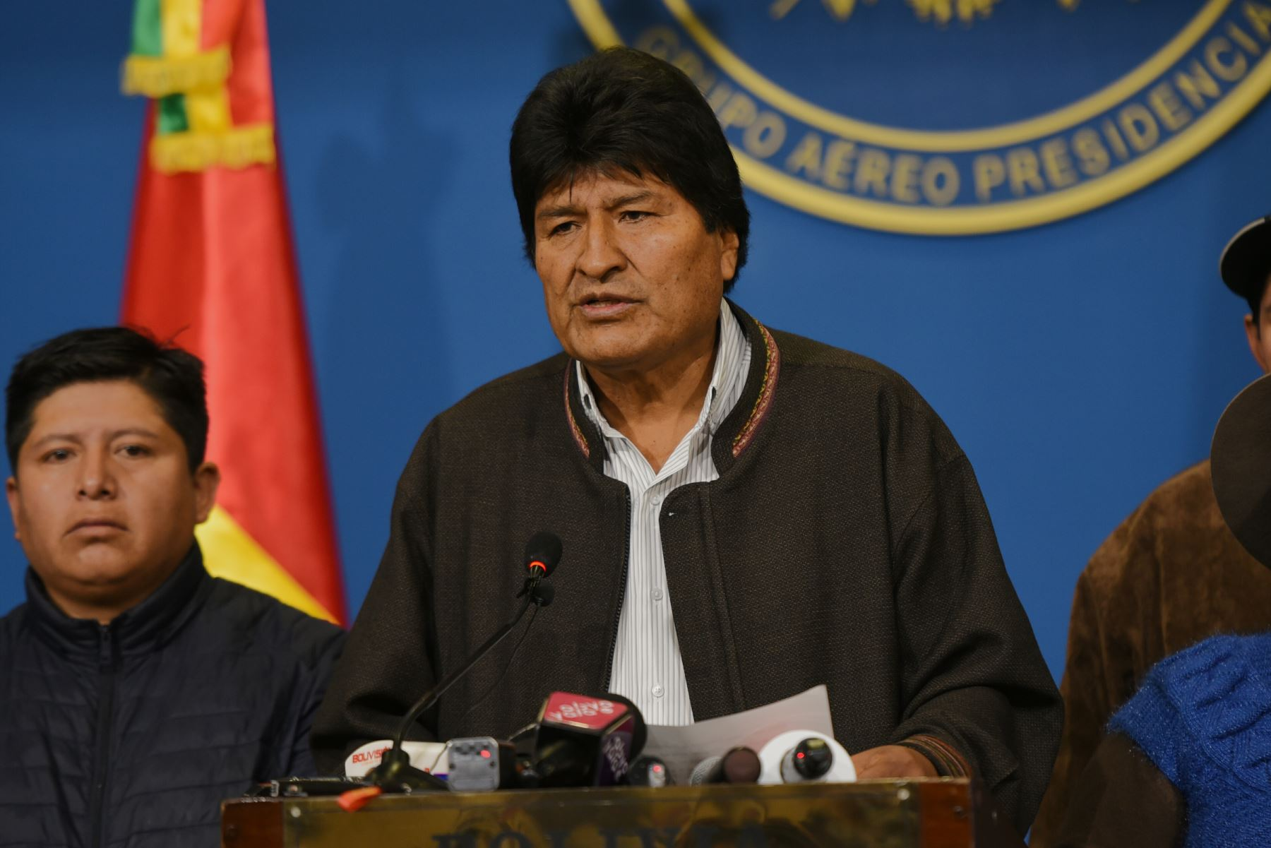 En conferencia de prensa, el presidente Evo Morales, convoca a nuevas elecciones generales en Bolivia. Foto: Agencia Boliviana de Información