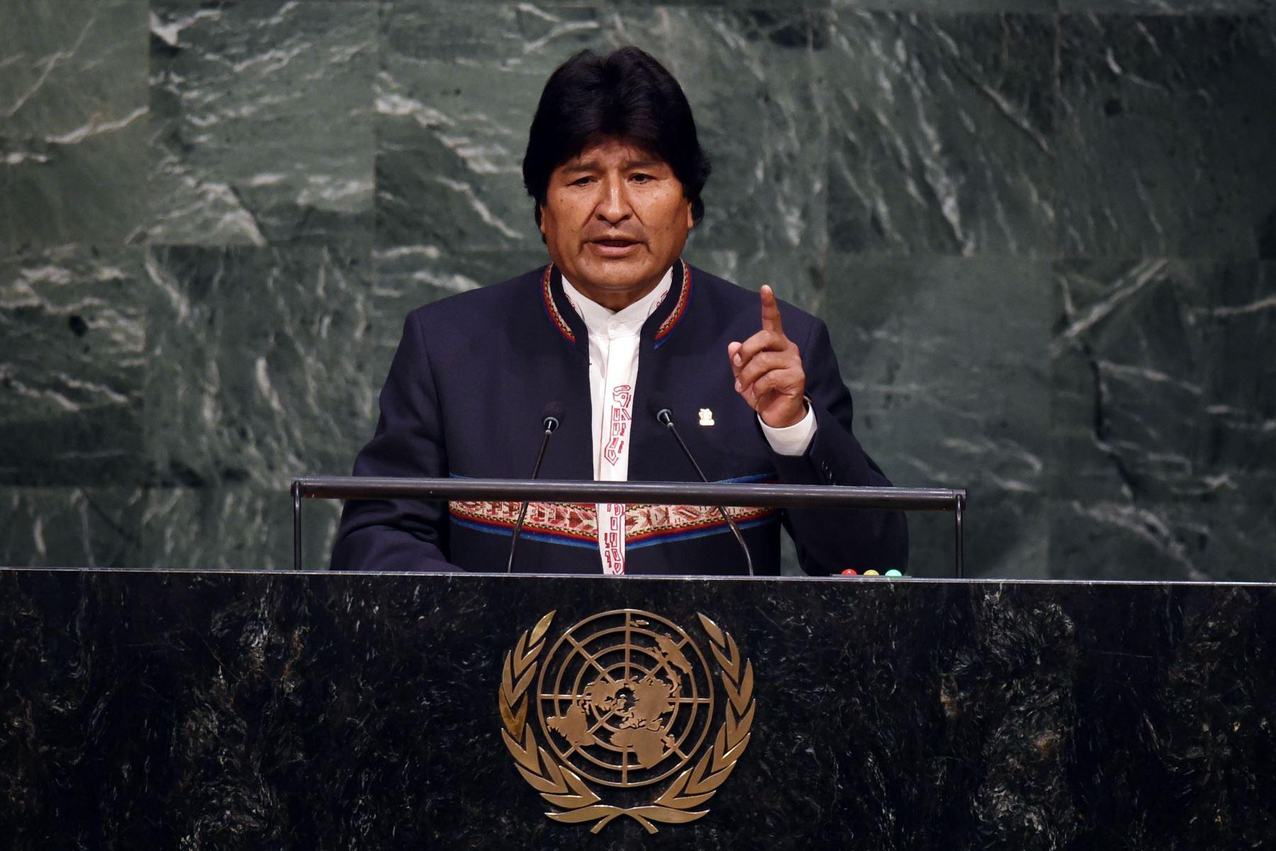 El presidente boliviano, Evo Morales Ayma, habla durante la Cumbre de Desarrollo Sostenible de las Naciones Unidas en la Asamblea General de las Naciones Unidas en Nueva York. Foto: AFP