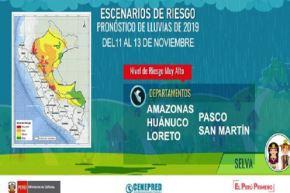 El Senamhi indicó que se presentarán lluvias de moderada a fuerte intensidad, acompañadas de descargas eléctricas y ráfagas de viento superiores a los 45 kilómetros por hora,  en la Selva de los departamento de Amazonas, Ayacucho, Cajamarca, Cusco, Huánuco, Junín, Loreto, Madre de Dios, Pasco, Puno, San Martín y Ucayali.