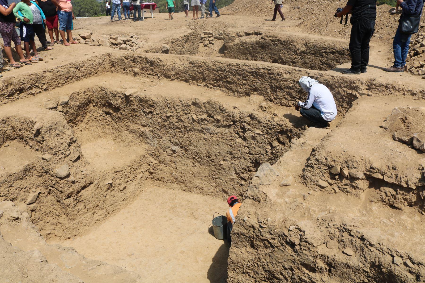 El templo ceremonial descubierto en la Huaca El Toro es la única estructura megalítica que existe en la región Lambayeque. Foto: ANDINA/Difusión