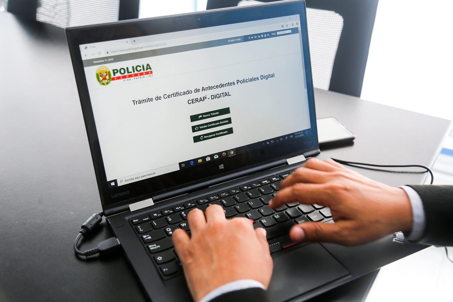 Certificados de Antecedentes Policiales Digital Foto: Difusión.