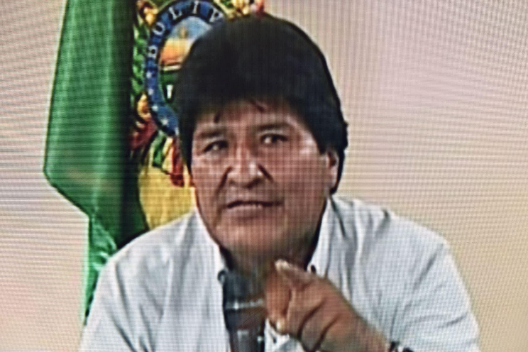 10 de noviembre de 2019 Captura tomada de un video entregado por Bolivia TV que muestra al presidente boliviano Evo Morales anunciando su renuncia. Foto: AFP