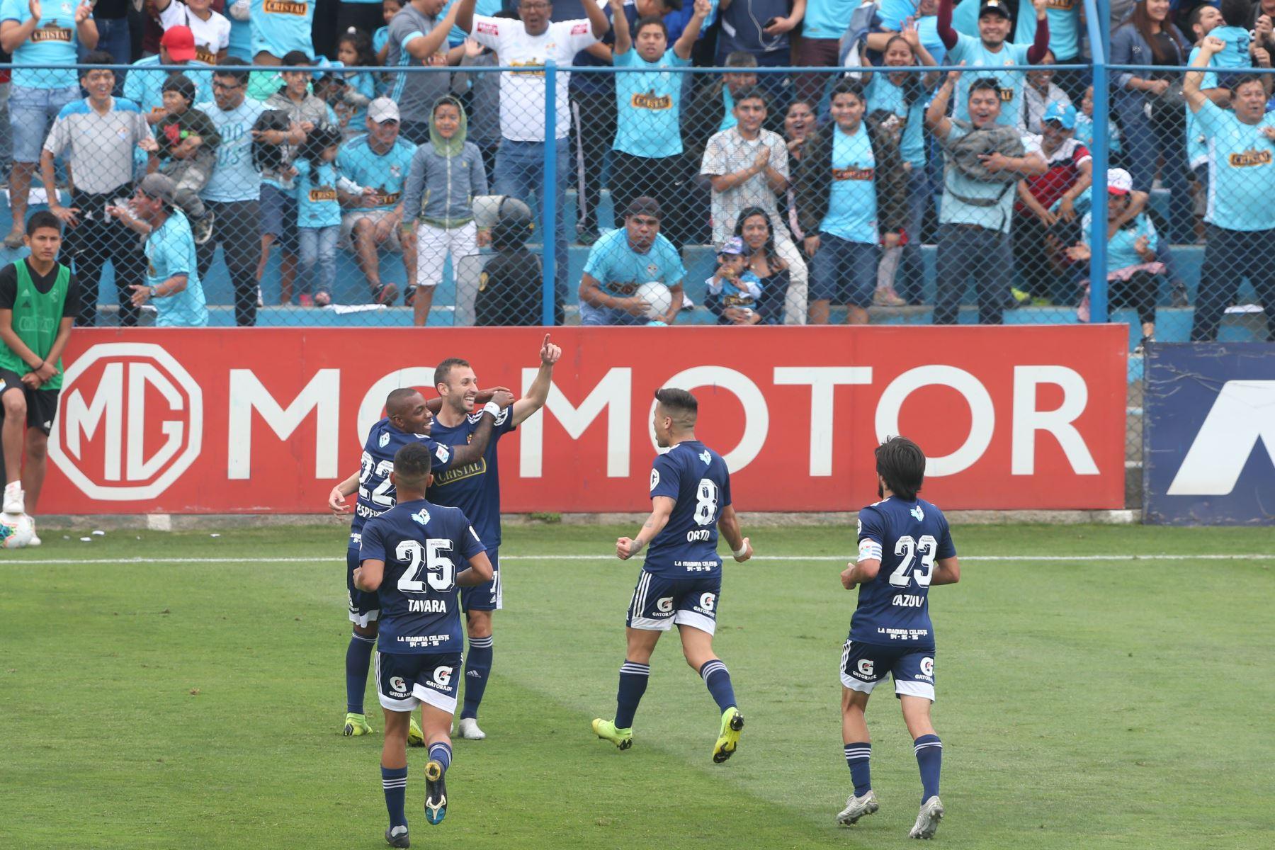 Horacio Calcaterra Sporting Cristal celebra el primer gol  ante Alianza UDH por el Torneo Clausura de la Liga 1. Foto: ANDINA/ Eddy Ramos