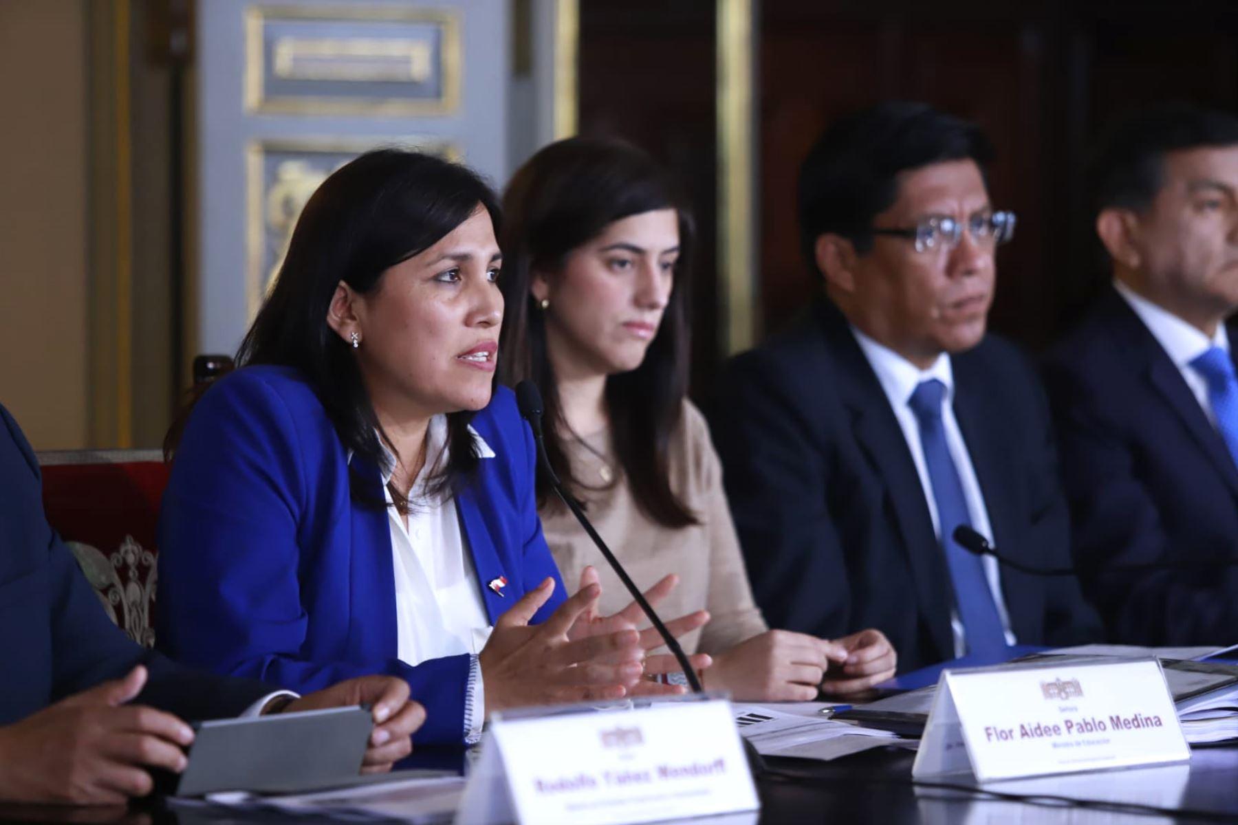La ministra de Educación, Flor Pablo, durante la presentación del Presupuesto del Sector Público para el Año Fiscal 2020. Foto: ANDINA/ Difusión