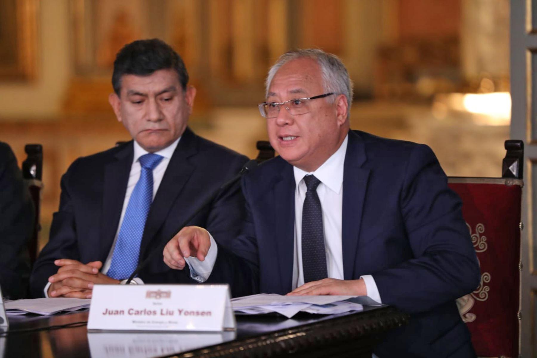 El Ministro de Energía y Minas Juan Carlos Liu Yonsen, durante la presentación del Presupuesto del Sector Público para el Año Fiscal 2020. Foto: ANDINA/ Difusión