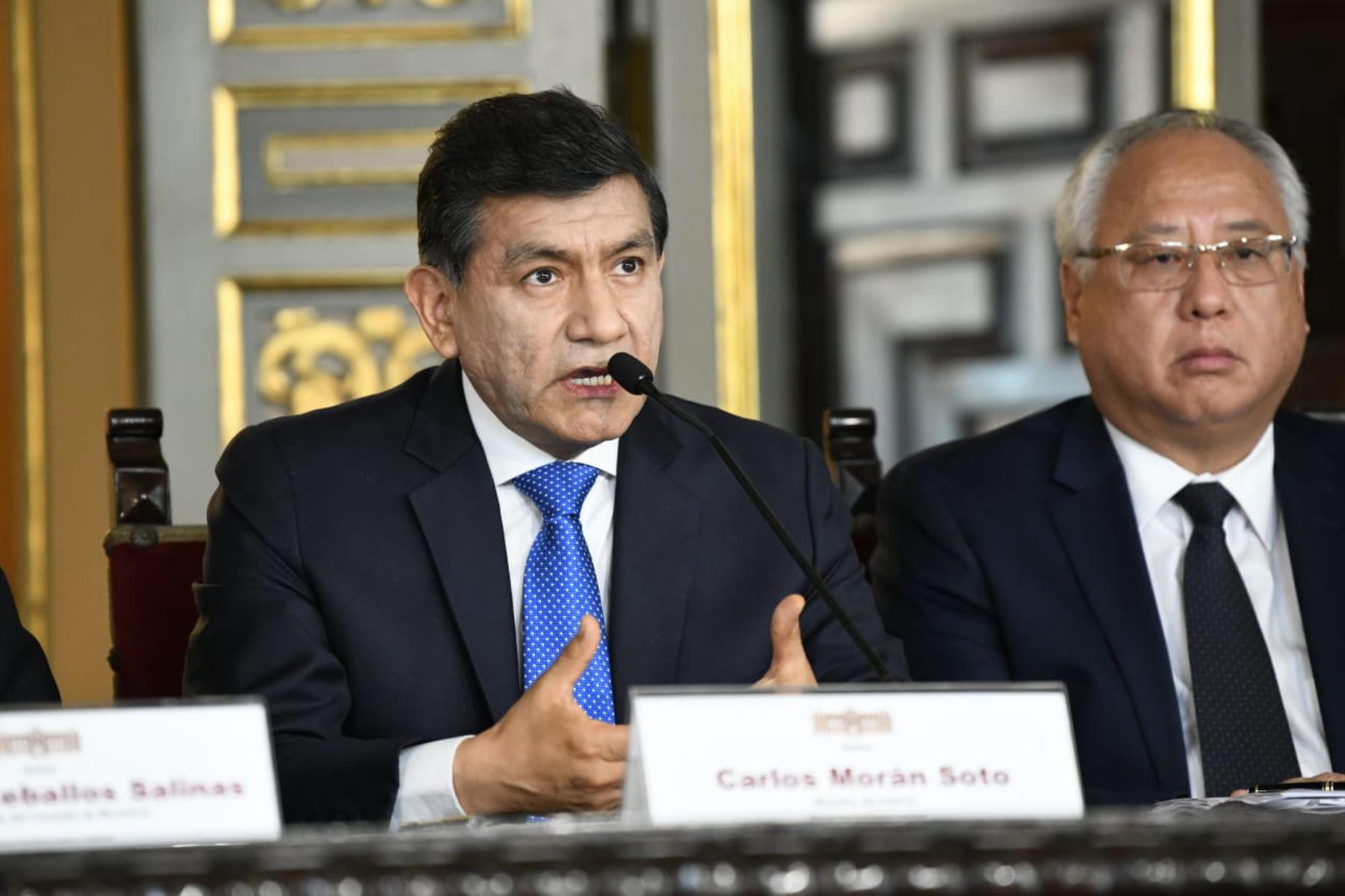 El Ministro del Interior, Carlos Morán Soto, durante la presentación del Presupuesto del Sector Público para el Año Fiscal 2020. Foto: ANDINA/ Difusión