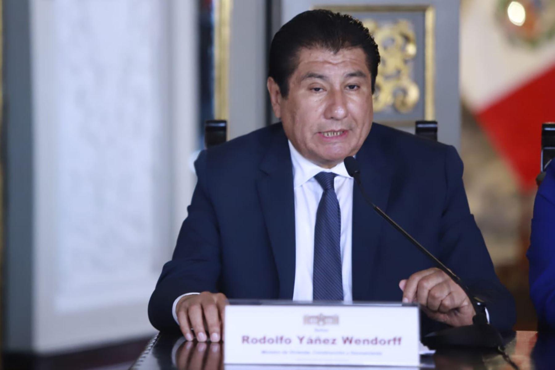 El ministro de Vivienda, Construcción y Saneamiento, Rodolfo Yáñez Wendorff, durante la presentación del Presupuesto del Sector Público para el Año Fiscal 2020. Foto: ANDINA/ Difusión