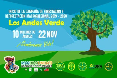 Los gobiernos regionales integrantes de la Mancomunidad de los Andes, desde el año 2015 al 2018 han contribuido reforestando 36'800,000 plantones en 33,000 hectáreas.