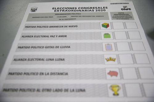 ONPE presenta el diseño de la cédula de sufragio para las elecciones congresales extraordinarias 2020