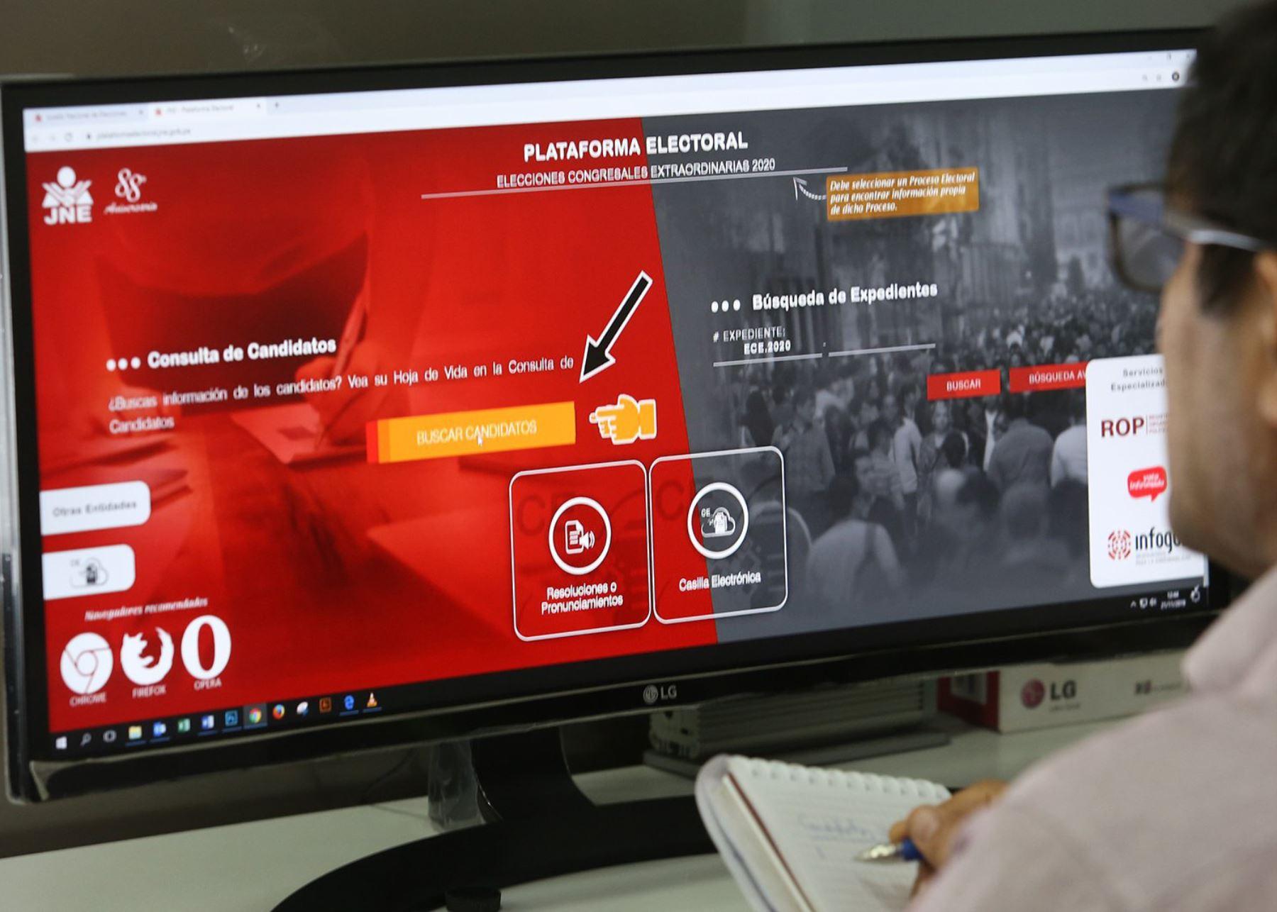 JNE presenta plataforma para que ciudadanía conozca listas de candidatos.