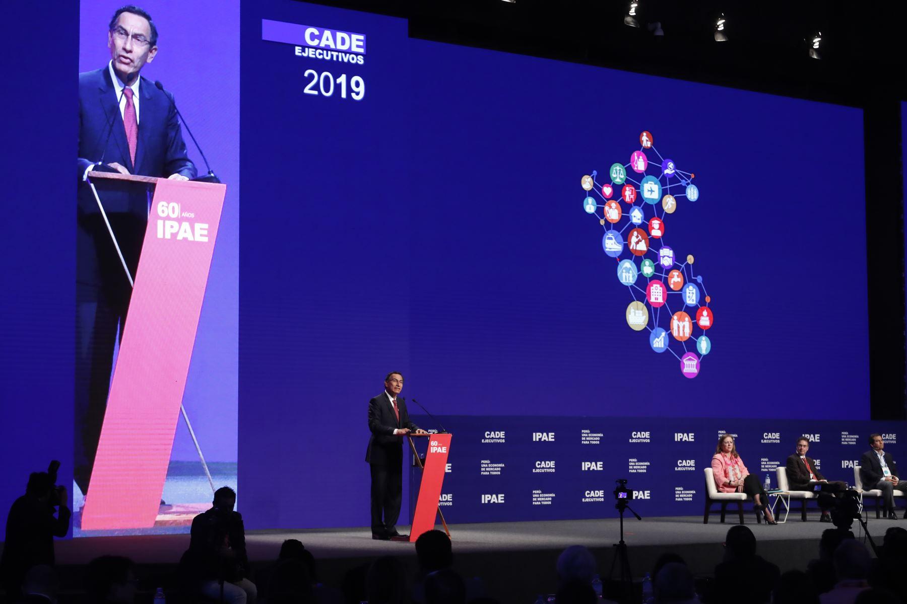 Presidente Vizcarra interviene en el CADE Ejecutivos 2019. Foto: ANDINA/Renato Pajuelo