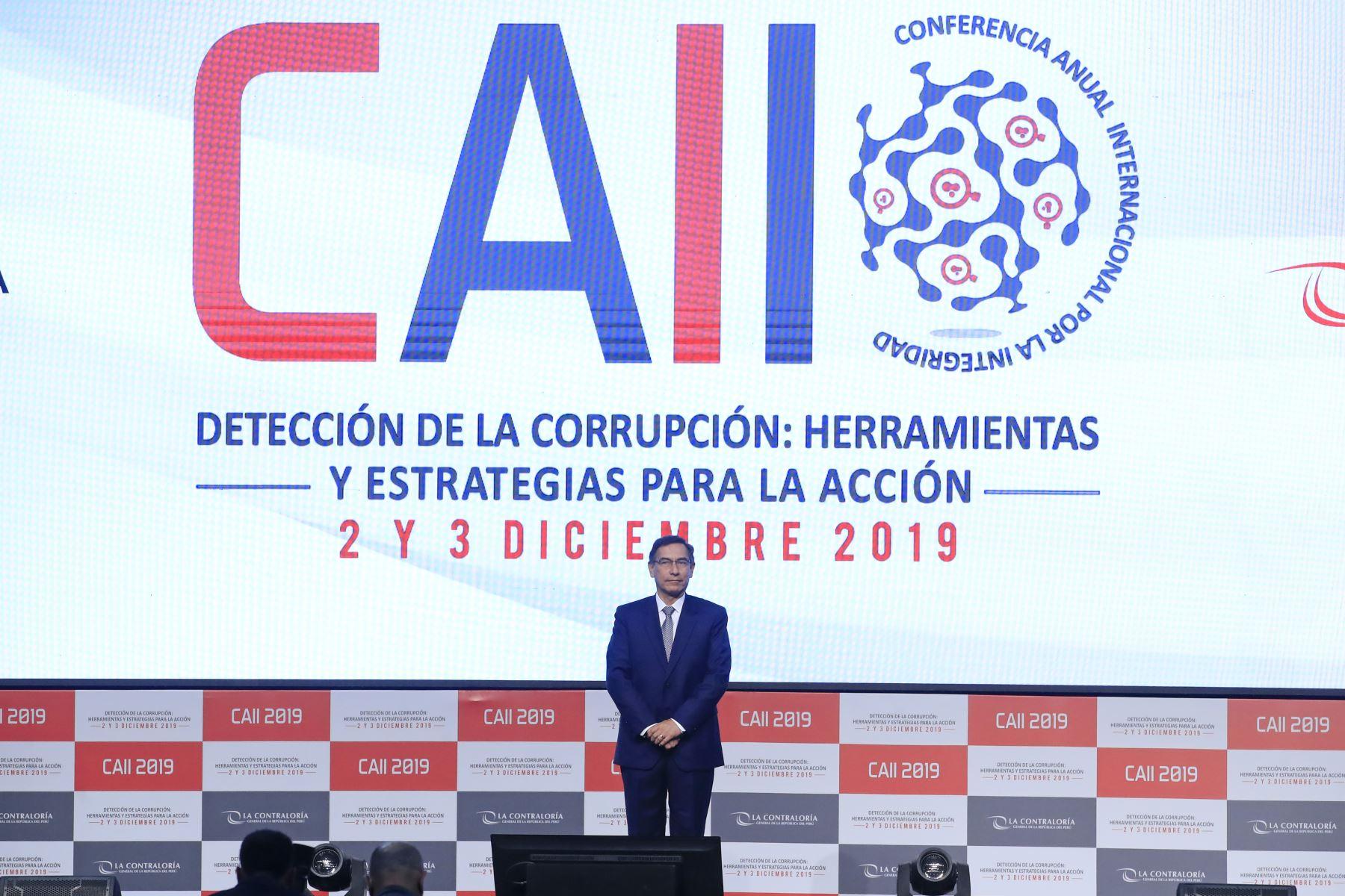 Presidente de la República asistió a la Inauguración de la Conferencia Anual Internacional por la Integridad CAII 2019, organizada por la Contraloría General de la República.Foto: ANDINA/ Juan Carlos Guzmán