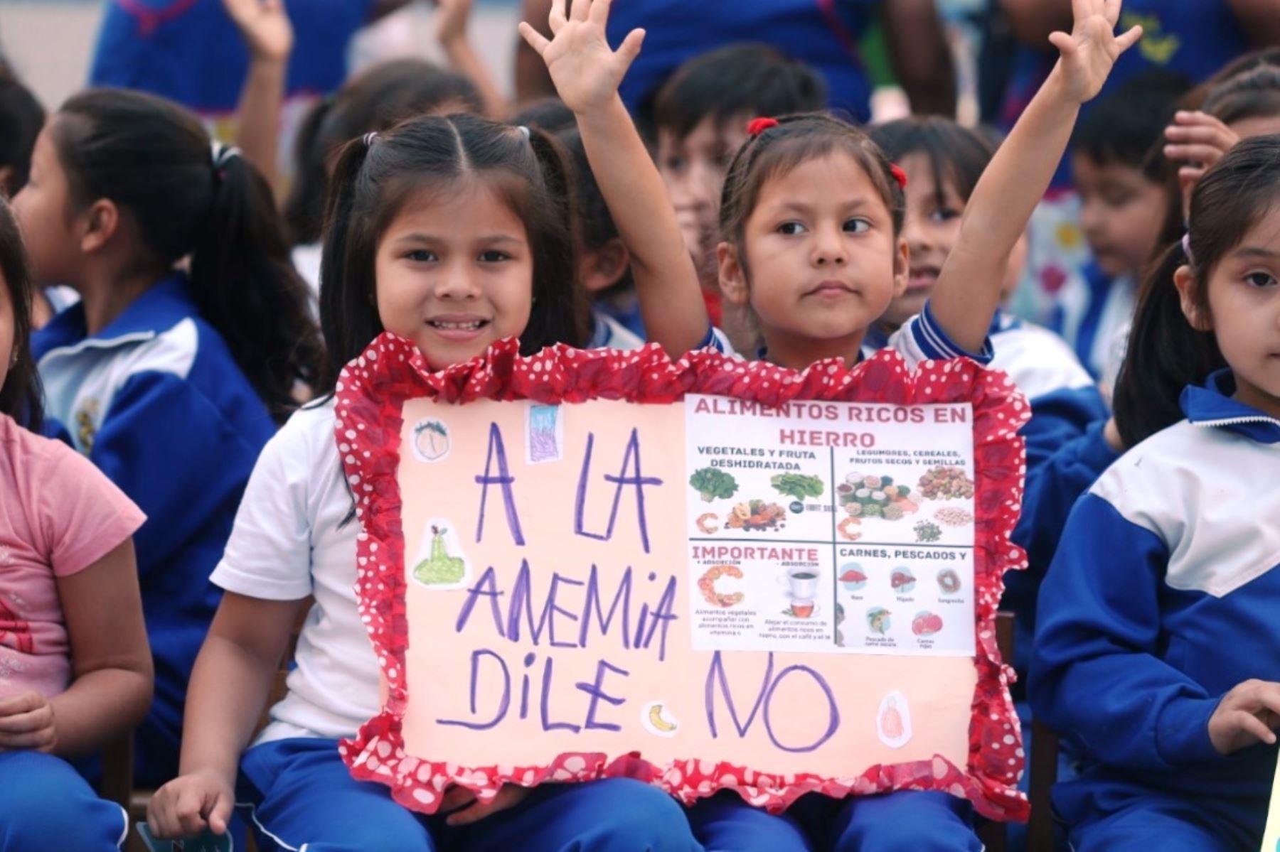 Escolares participan en campaña del Ministerio de Educación en la lucha contra la anemia. Foto: ANDINA/Difusión.