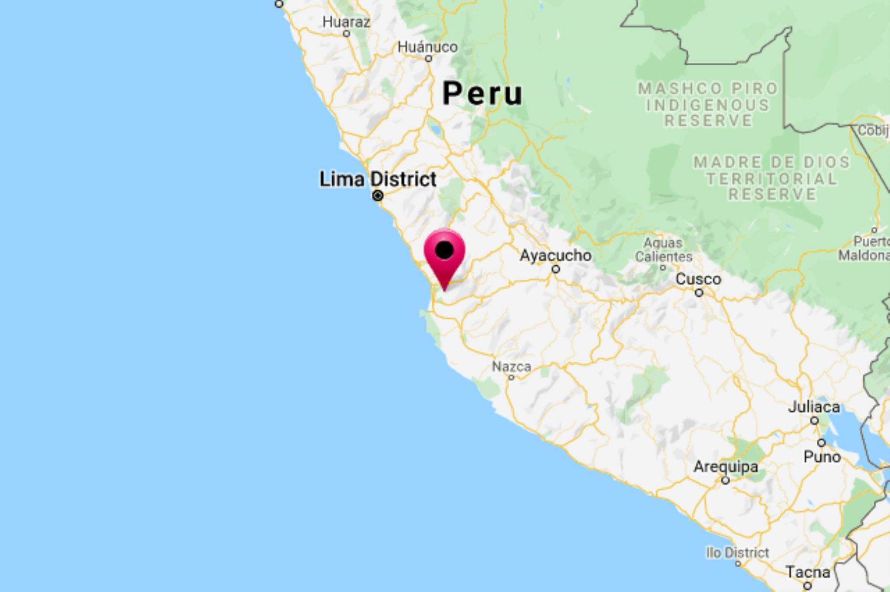 El epicentro del sismo de magnitud 4.3 se ubicó cerca de la localidad de Tambo de Mora, provincia iqueña de Chincha. INTERNET/Medios