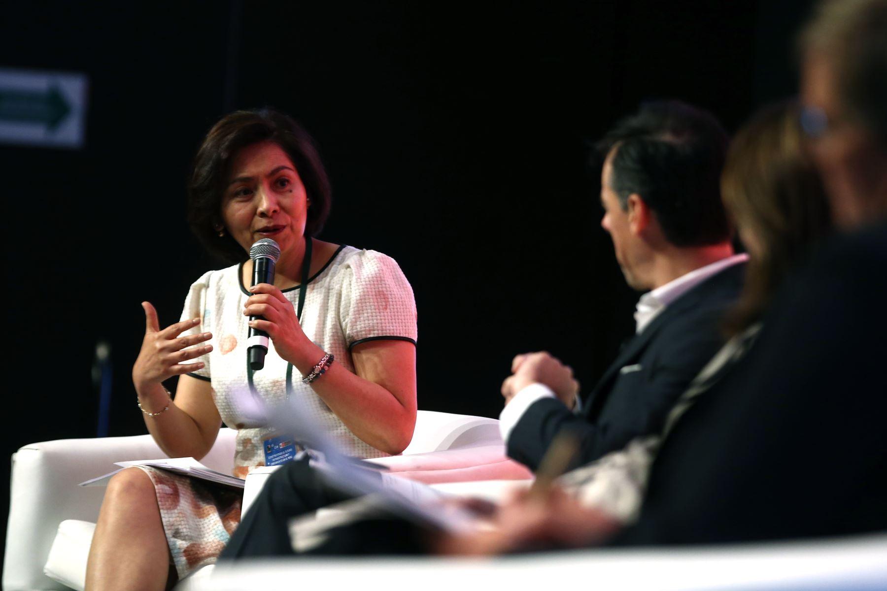 Viviana Caro, representante del Banco Interamericano de desarrollo (BID) en el Perú, expone construyendo el Futuro Infraestructura y crecimiento en el Perú. Foto: ANDINA/Vidal Tarqui