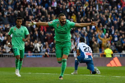 El Real Madrid gana 2-0 al Espanyol y se coloca como líder de la Liga española