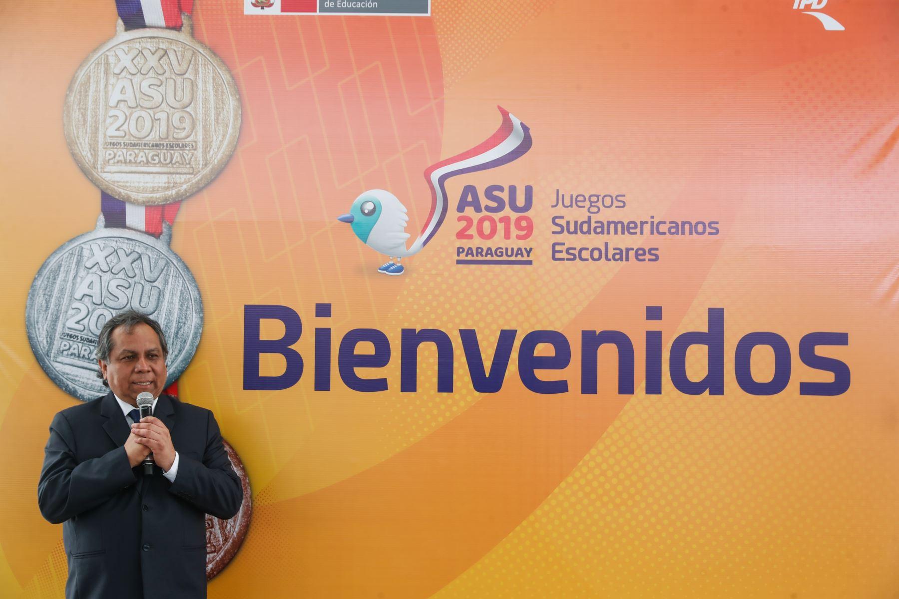 Palabras del Vice ministro, Guido  Rospigliosi en reconocimiento a delegación de  participantes de los Juegos Sudamericanos Escolares Asunción 2019. Foto: ANDINA/Renato Pajuelo