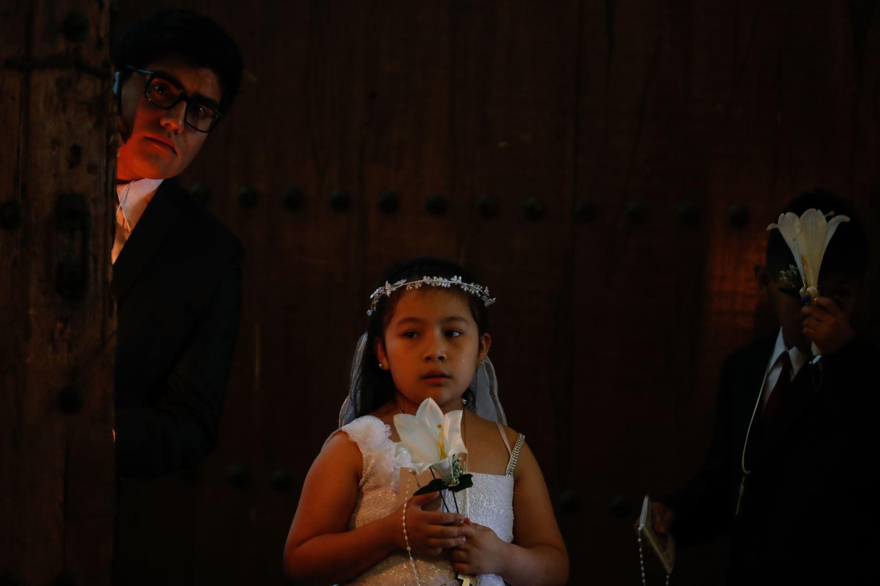 Primera Comunión en Iglesia La Merced de Lima. Foto: ANDINA/Renato Pajuelo