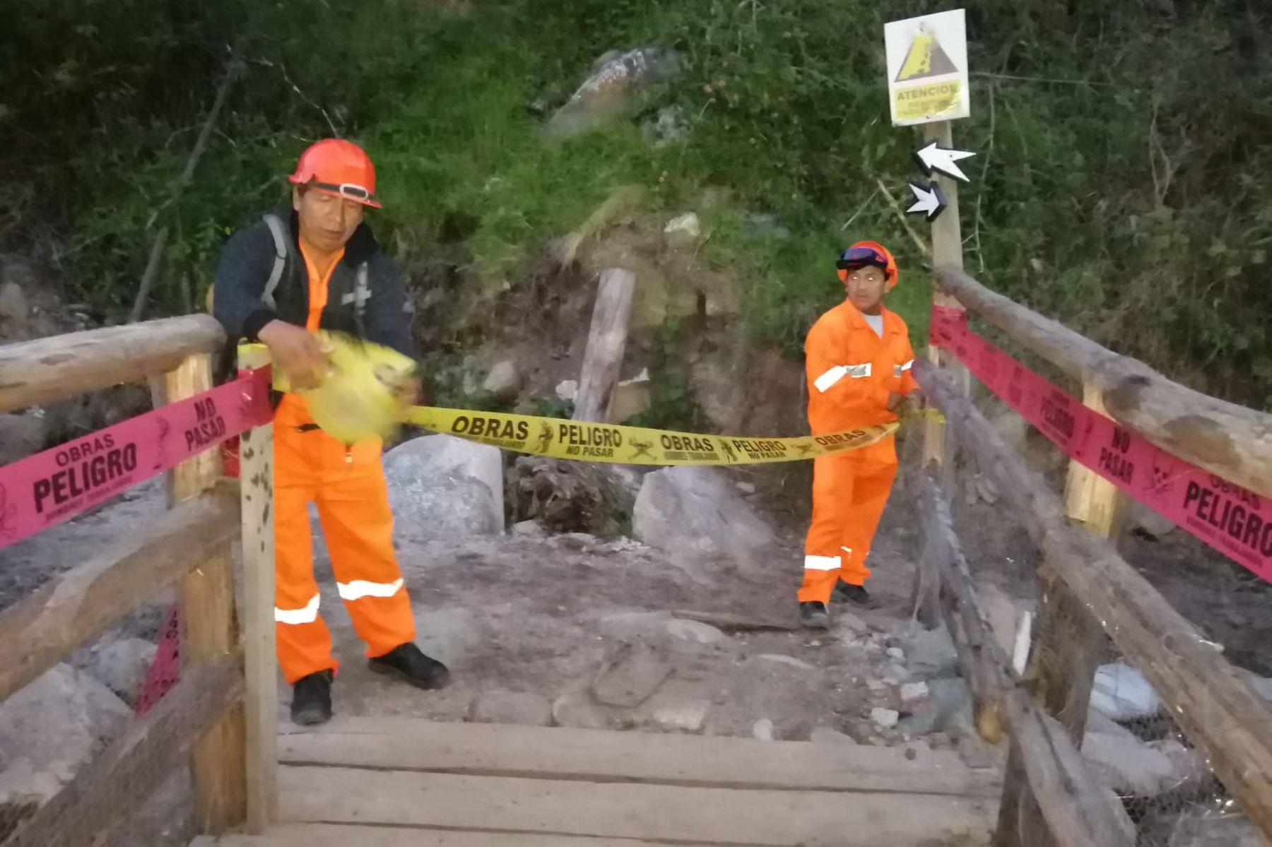 Colapsa puente peatonal de ingreso al Camino Inca a Machu Picchu, en Cusco. ANDINA/Difusión