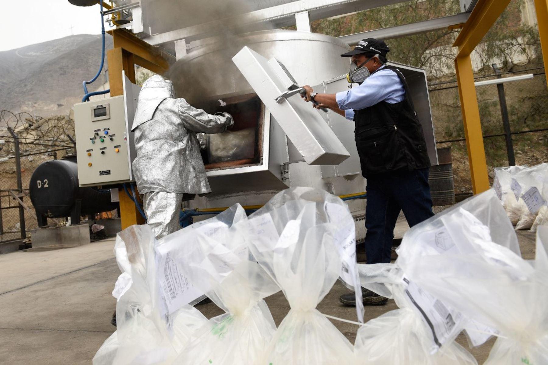 Más de 63 toneladas de droga fueron incineradas en lo que va del 2019. Foto: ANDINA/Difusión.
