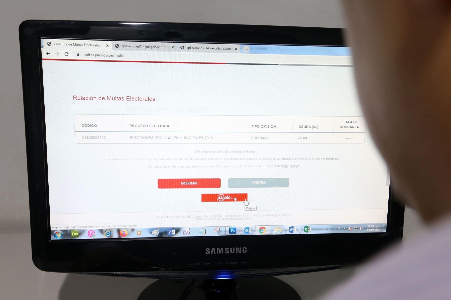 Pago de multas a través del portal del JNE. Foto: Difusión.