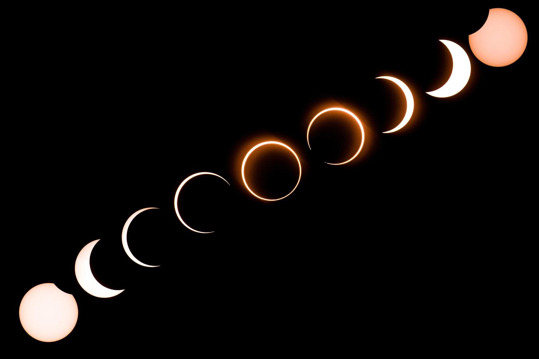 """Esta imagen compuesta muestra la luna mientras se mueve frente al sol en un raro eclipse solar de """"anillo de fuego"""" visto desde Tanjung Piai en Malasia. Foto: AFP"""