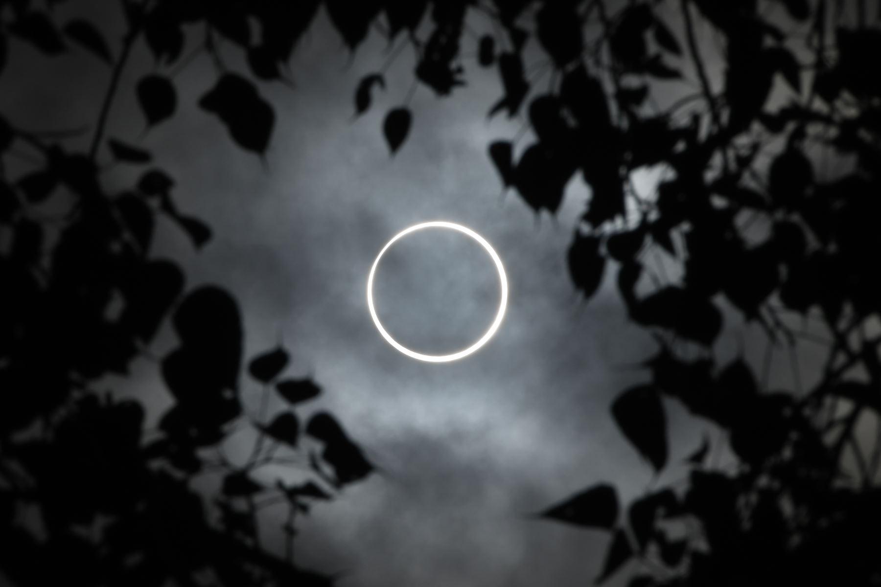 """La luna cubre totalmente el sol en un eclipse solar de """"anillo de fuego"""" visto desde la ciudad de Dindigul, en el sur de la India. Foto: AFP"""