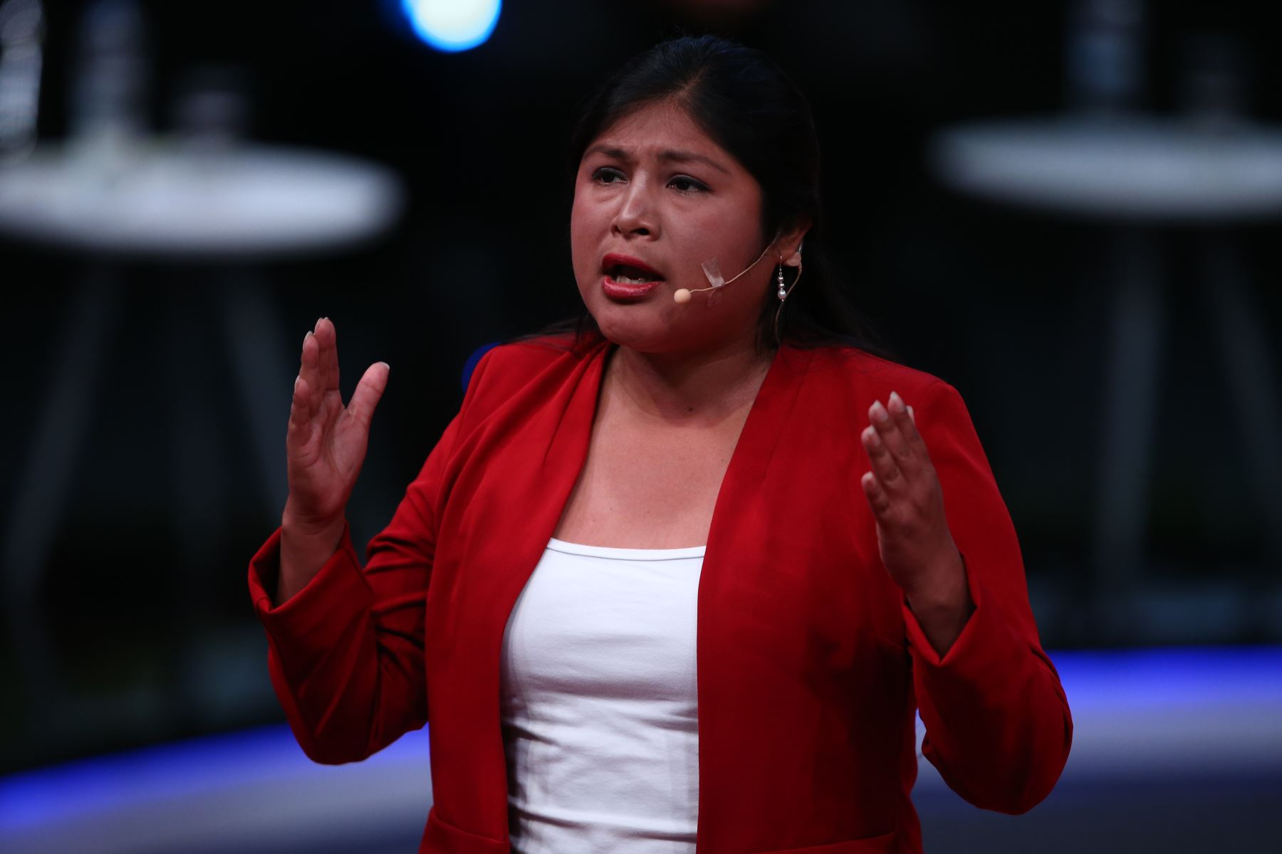 Cinthia Baquerizo candidata de Juntos por el Perú participa en debate. Foto: ANDINA/Tarqui Vidal