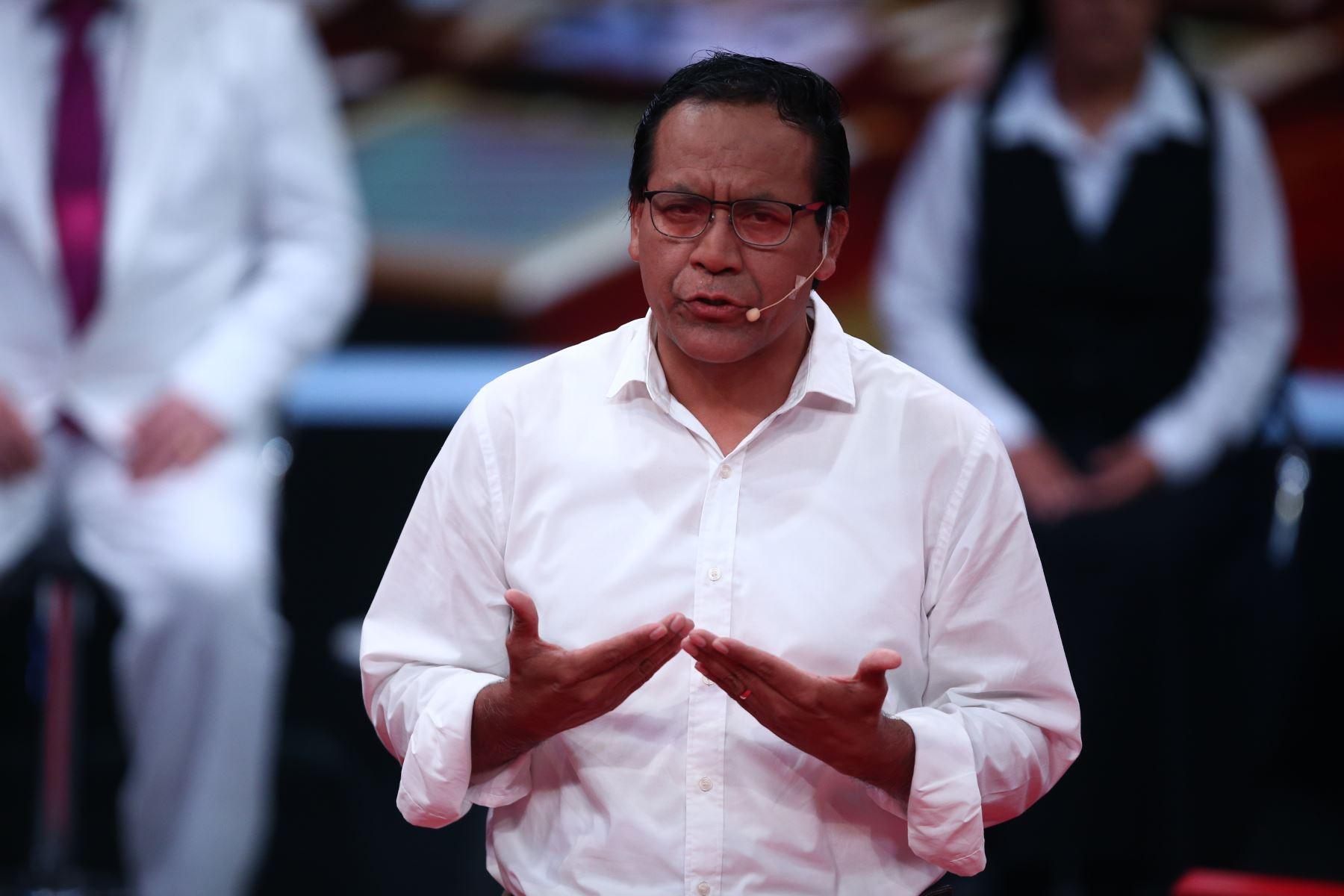 Roberto Sánchez de Juntos por el Perú participa en debate. Foto: ANDINA/Tarqui Vidal