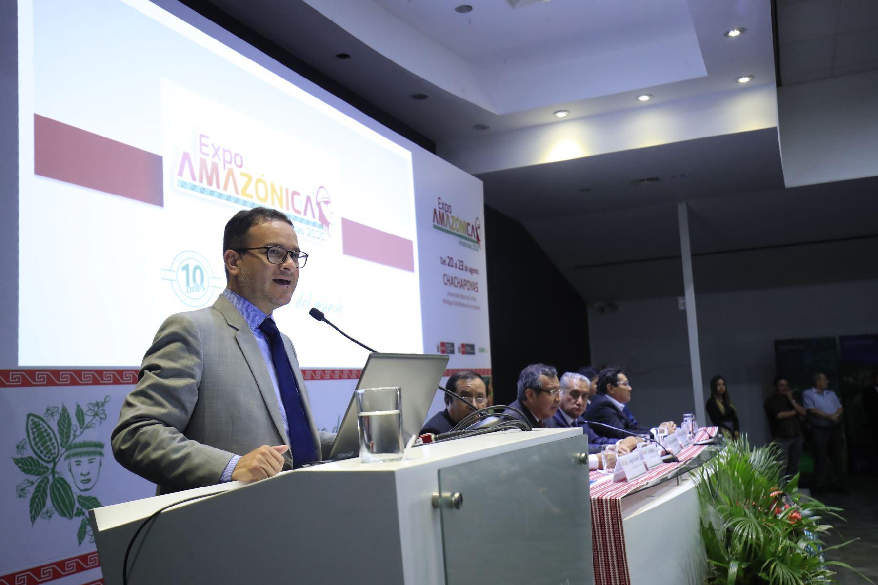 El ministro de Turismo y Comercio Exterior, Edgar Vásquez, presenta el evento Expoamazónica 2020-Chachapoyas, la más importante feria de promoción y negocios de la Amazonía. Foto: ANDINA/ Juan Carlos Guzmán
