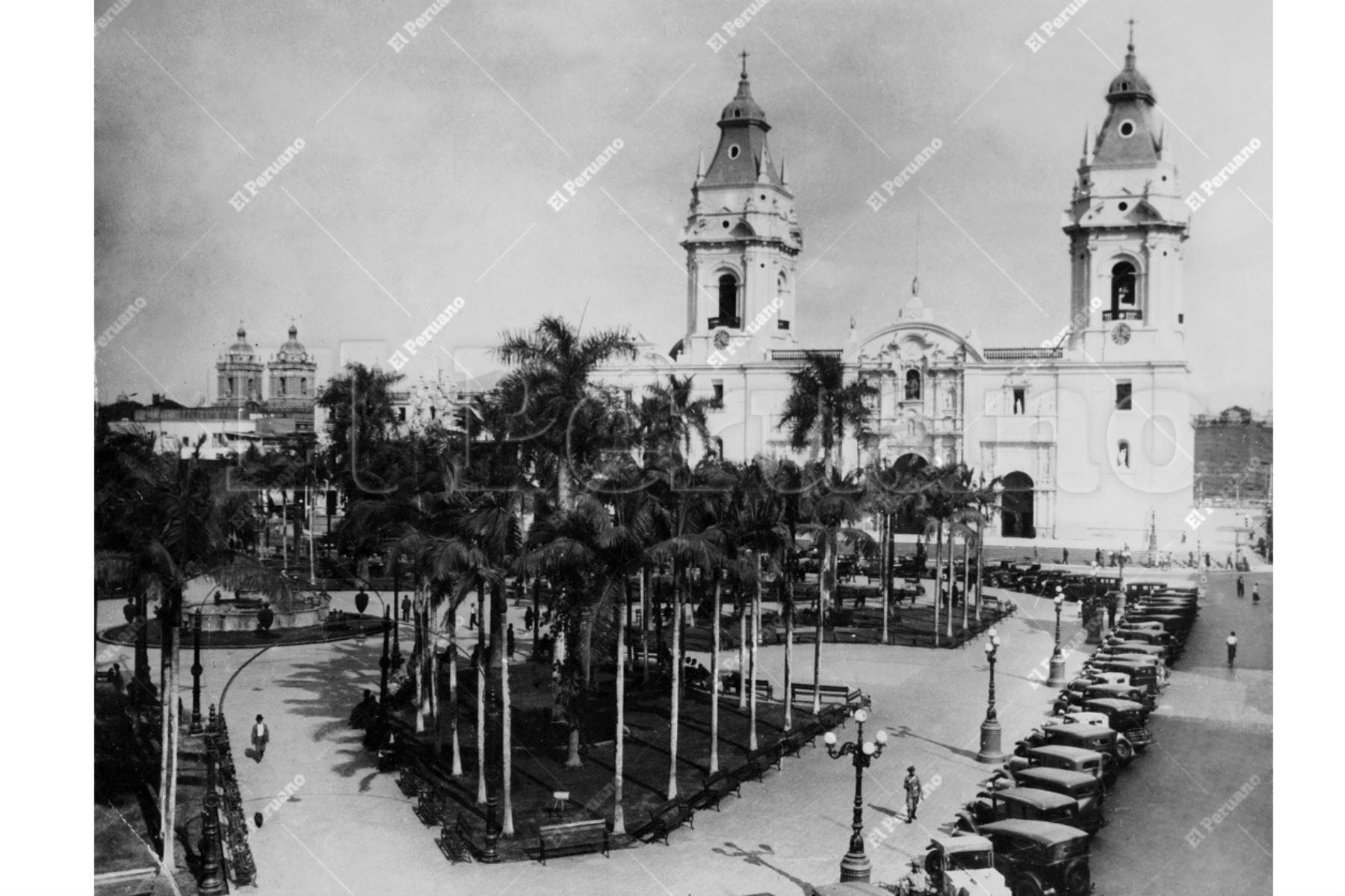 Foto Archivo Histórico Lima - 1925 / Plaza de Armas de Lima. Foto: ANDINA/Archivo El Peruano