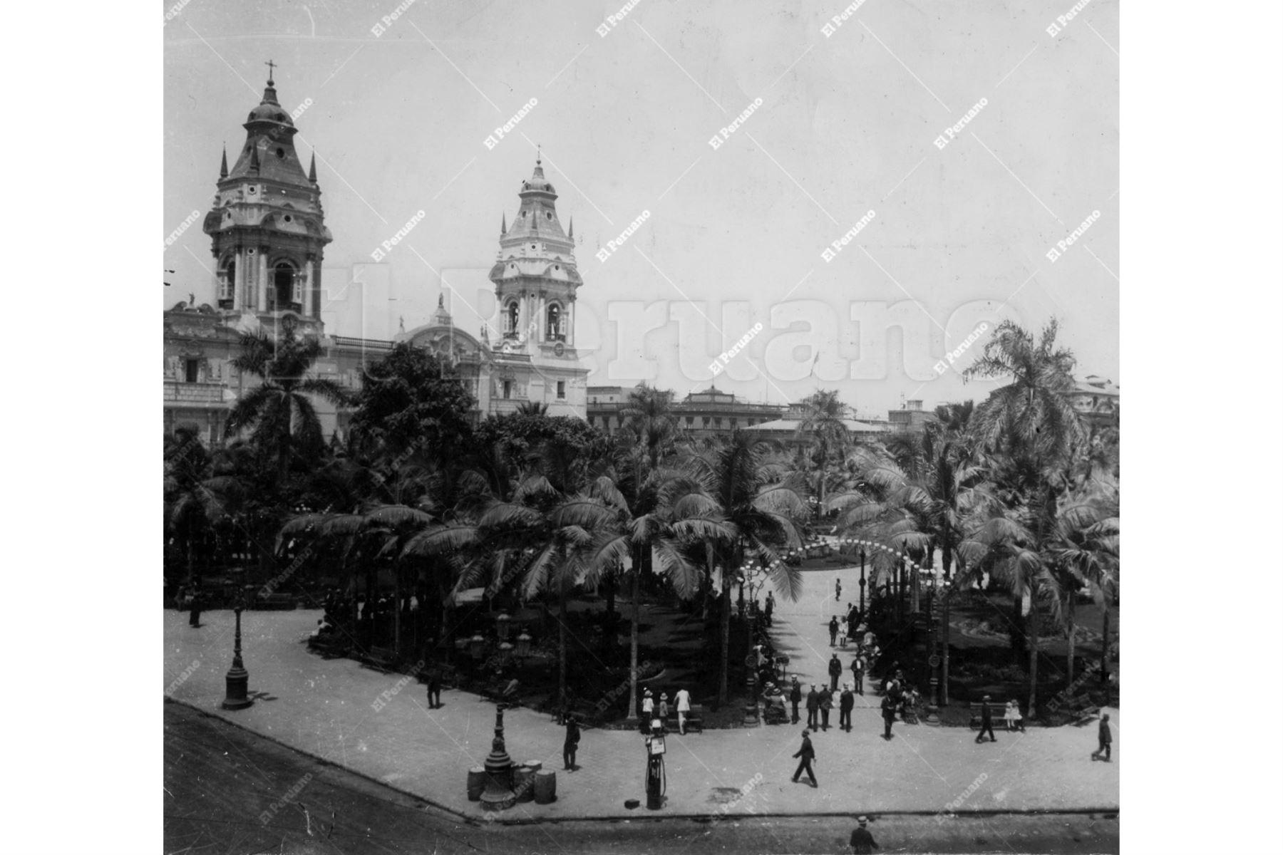Foto Archivo Histórico Lima - 1920 / Plaza de Armas de Lima.  Foto: Andina / Archivo El Peruano