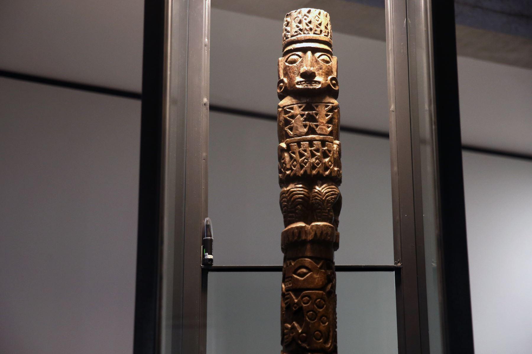 El idolo de Pachacamac, pieza de madera que se venera en Pachacámac es de la época Wari. Foto: Andina/ Vidal Tarqui