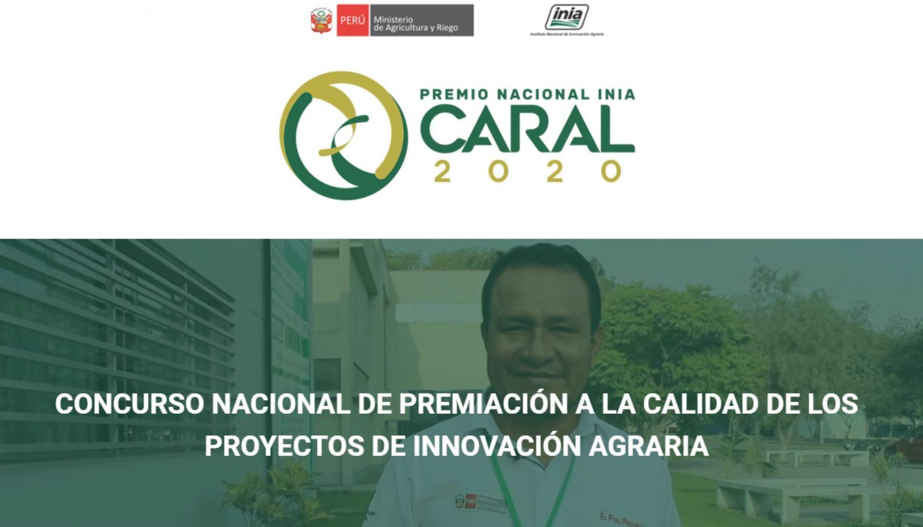 Los mejores proyectos de innovación agraria, pecuaria o forestal del país serán distinguidos con el Premio Nacional Caral, del Instituto de Innovación Agraria (INIA) y recibirán un reconocimiento económico de hasta 20,000 dólares.