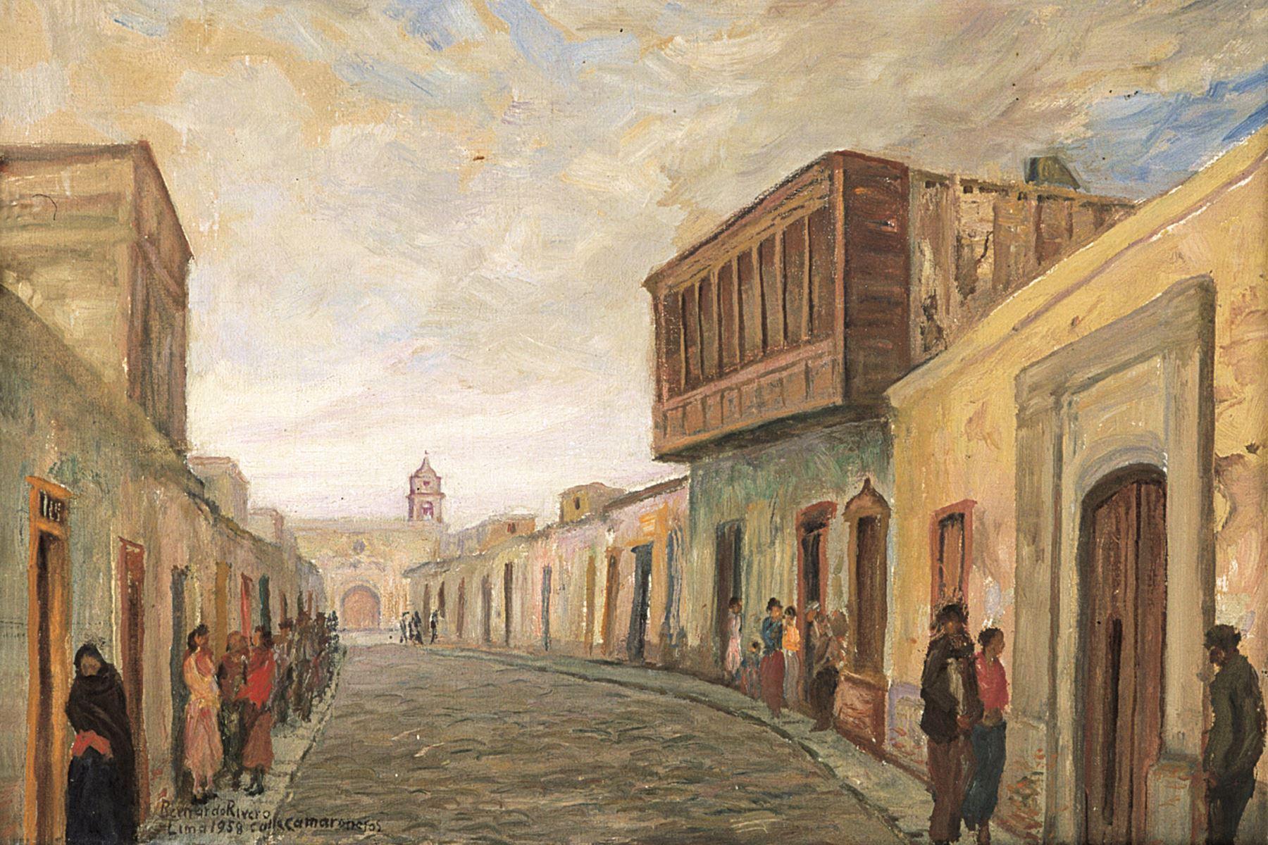Calle Camaronero, pintura de Bernardo de Rivero. Foto: ANDINA/archivo