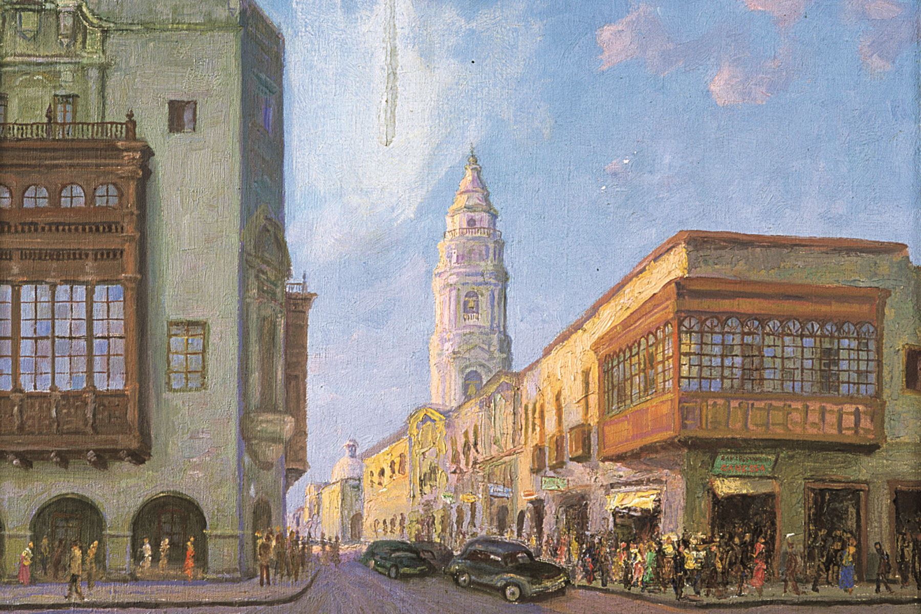Calle de Palacio y Correo, pintura de Bernardo de Rivero. Foto: ANDINA/archivo
