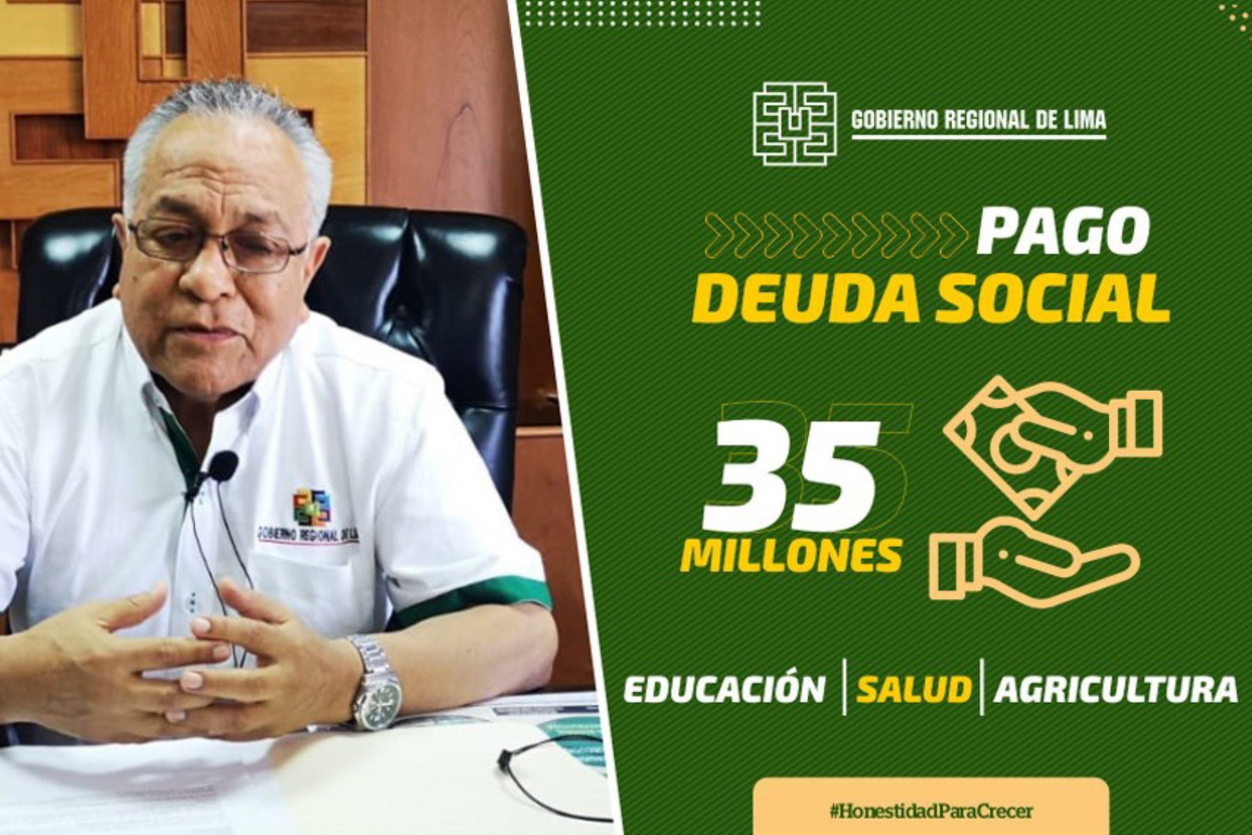 A partir de este lunes 27 de enero, el Gobierno Regional de Lima empezará el pago de la deuda social a los servidores activos y cesantes de los sectores educación, salud y agricultura, con un presupuesto de 35 millones de soles. ANDINA/Difusión