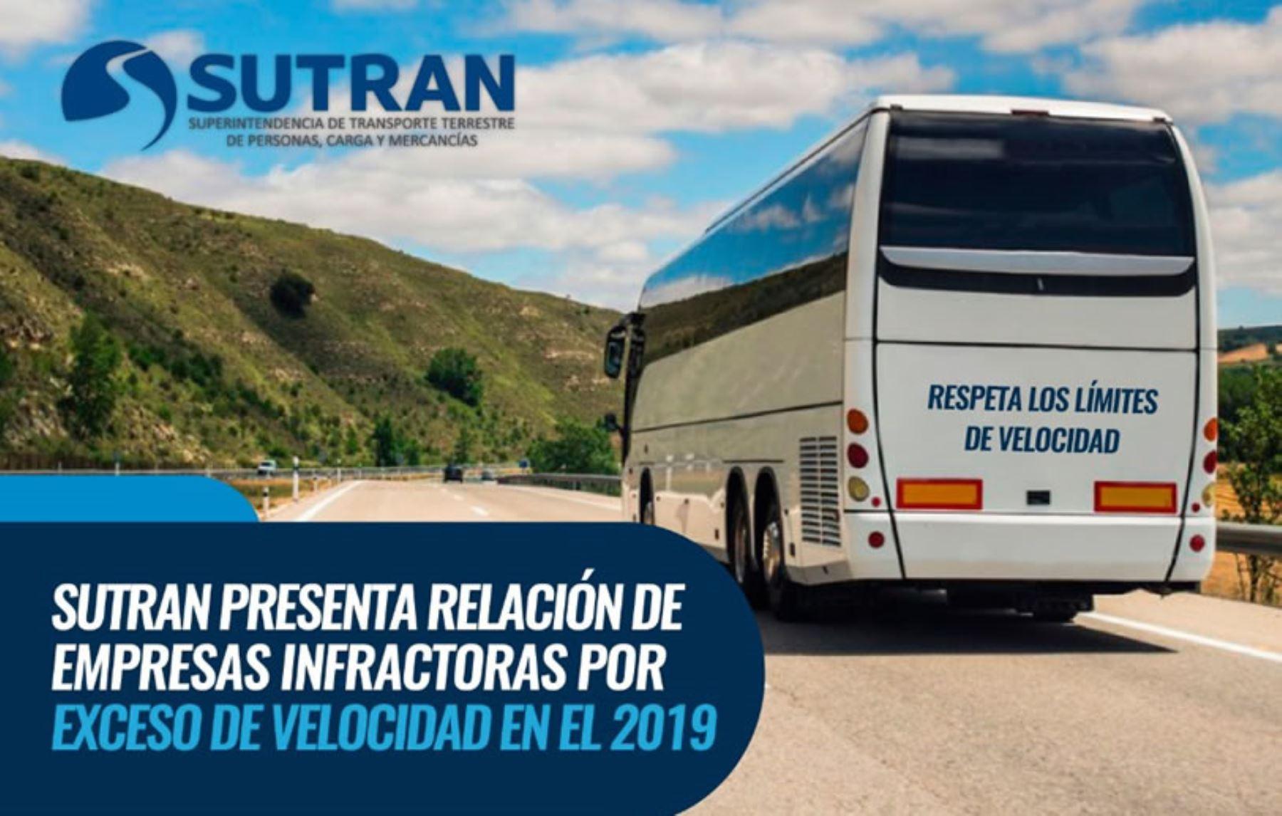 Sutran presenta relación de Empresas infractoras por exceso de velocidad en el 2019