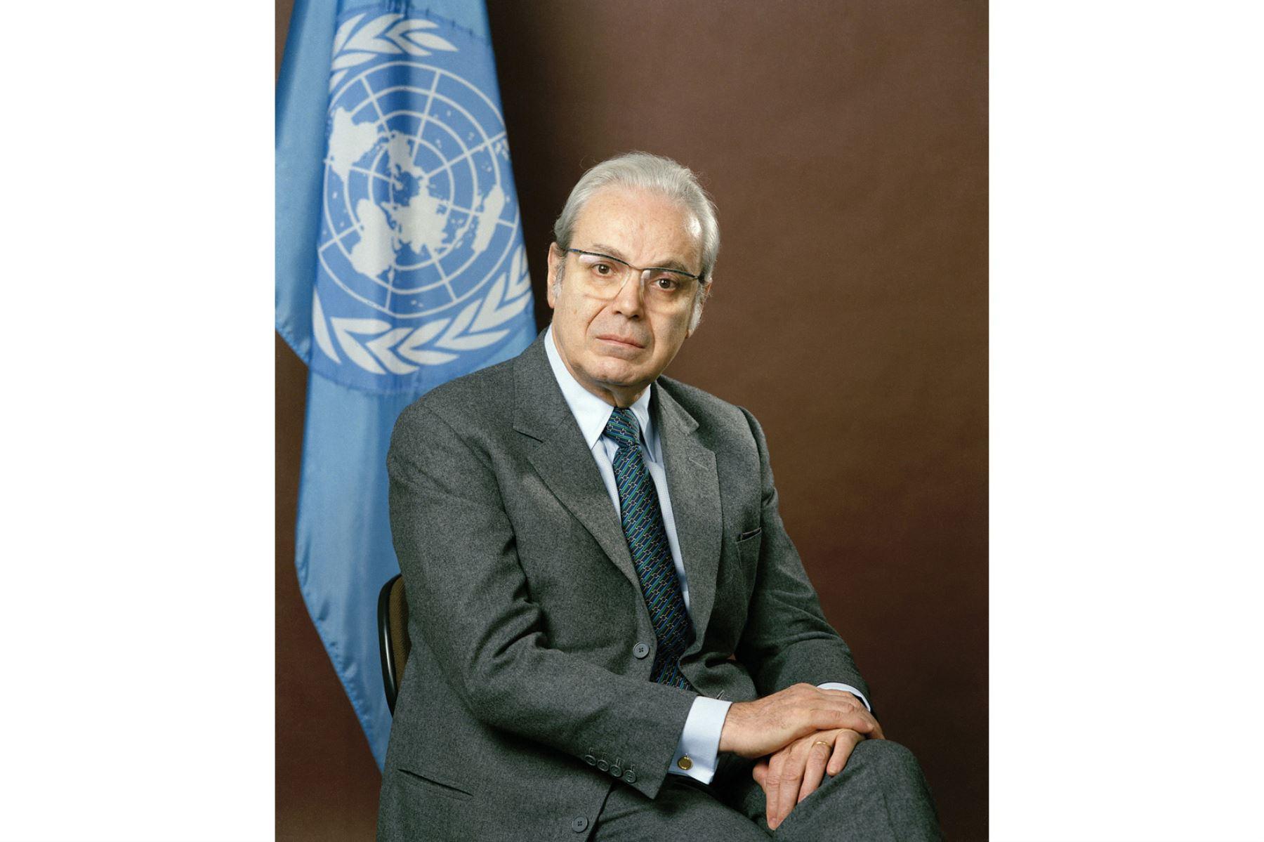 Naciones Unidas, Nueva York - 01 marzo 1987 / Retrato de Javier Pérez de Cuellar, secretario general de las Naciones Unidas. Foto: United Nations