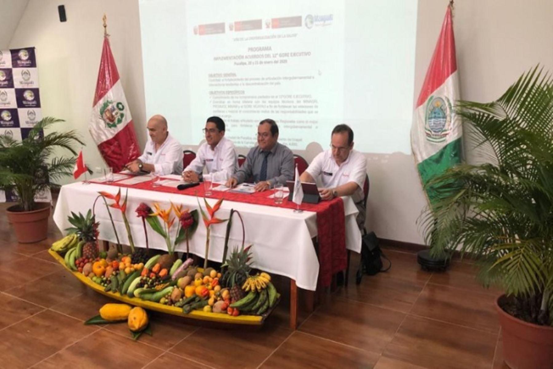 El viceministro de Desarrollo e Infraestructura Agraria y Riego (DIAR), Carlos Ynga, se reunió con autoridades y funcionarios del Gobierno Regional de Ucayali, como parte de los compromisos adquiridos en el marco del XII Gore Ejecutivo, celebrado en Lima el mes pasado.