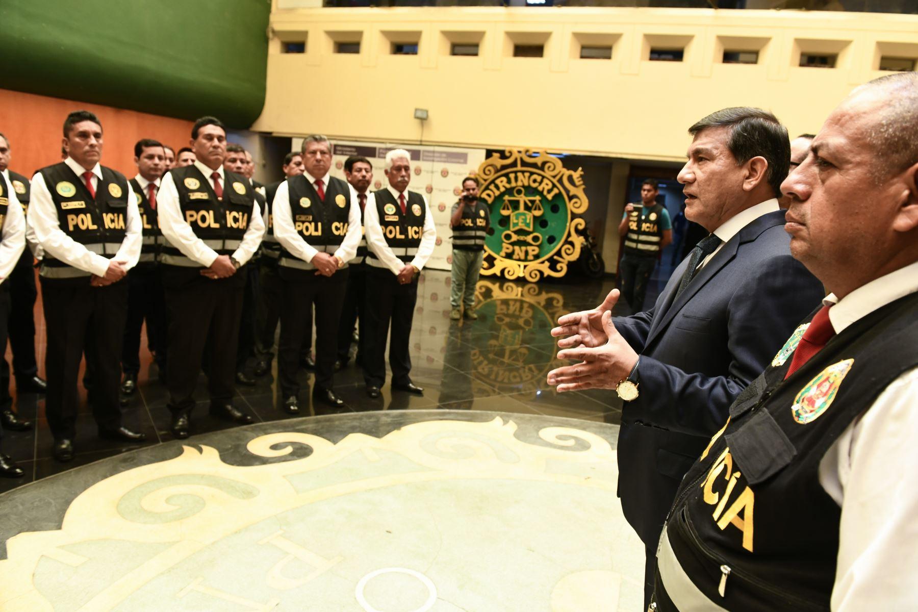 Ministro del Interior, Carlos Morán presenta la Brigada Especial contra la migración delictiva. Foto: ANDINA/Difusión