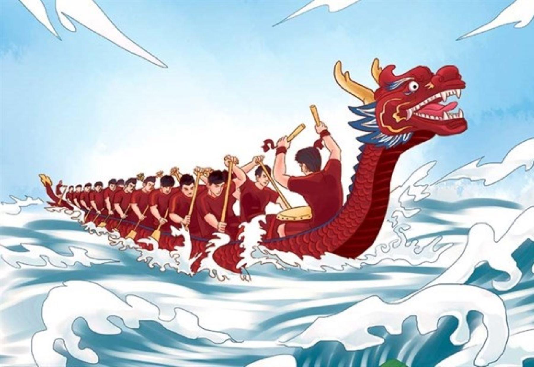 Ilustración de libro sobre leyendas chinas.