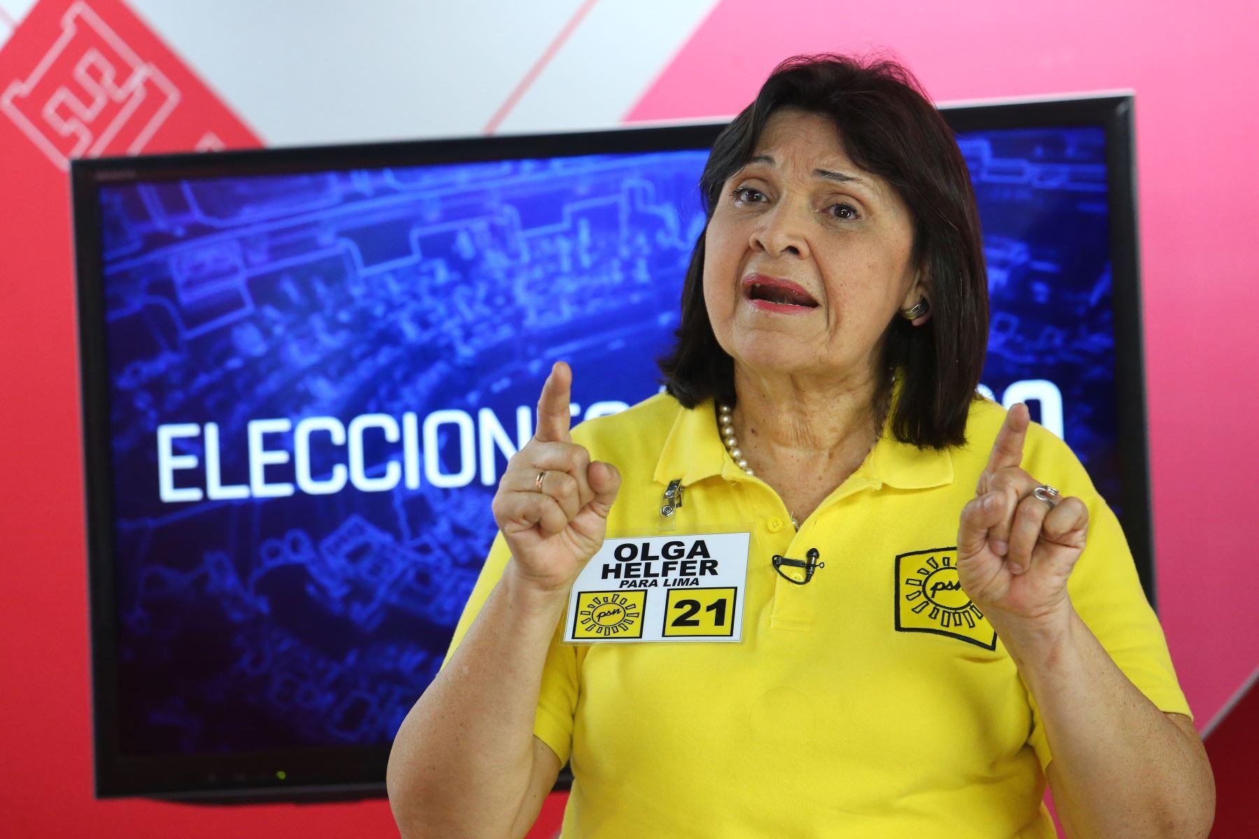 Candidata por Solidaridad Nacional, Olga Helfer. Foto: ANDINA/Héctor Vinces