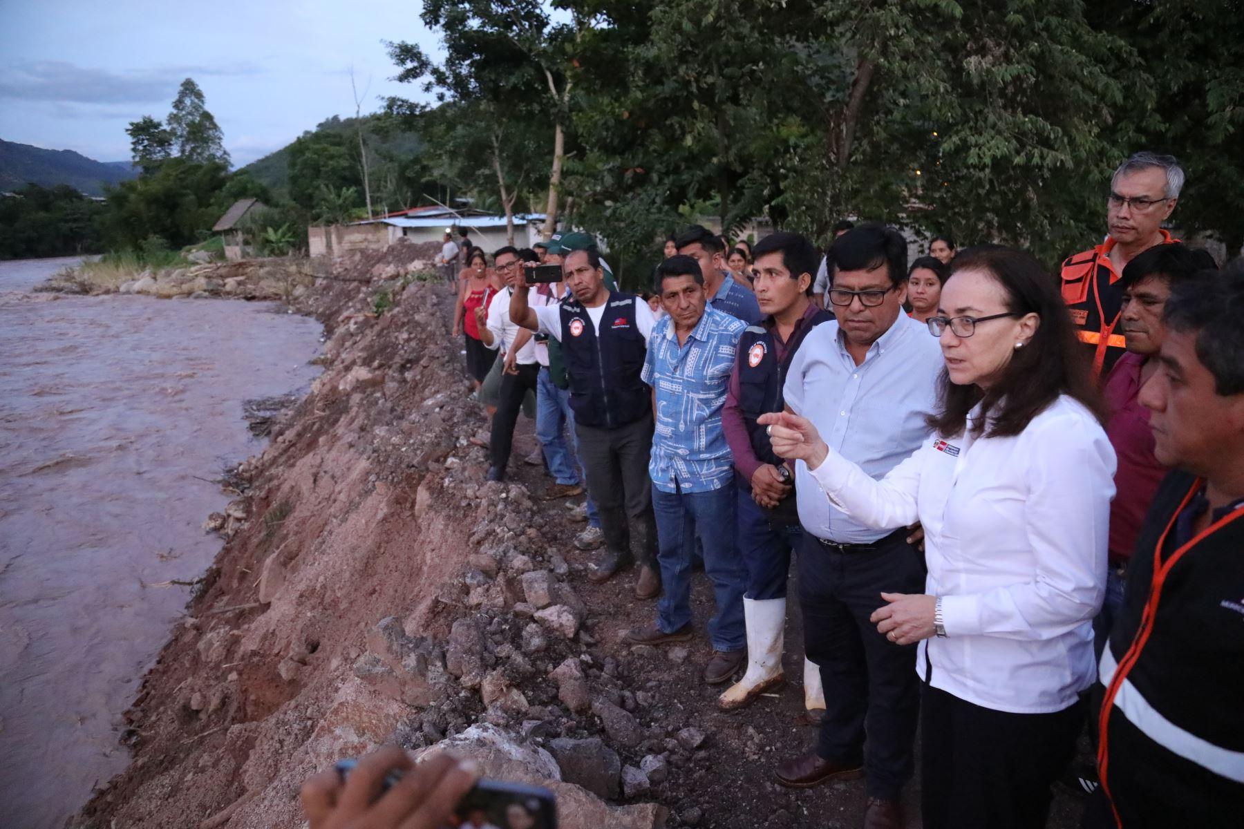 Ministra  de Justicia Ana Teresa Revilla, recorrió la selva central, para verificar junto con sus autoridades, medidas de remediación frente a huaicos e inundaciones que afectan a su población por fuertes lluvias que caen en la RegiónJunín. Foto:ANDINA/MINJUS