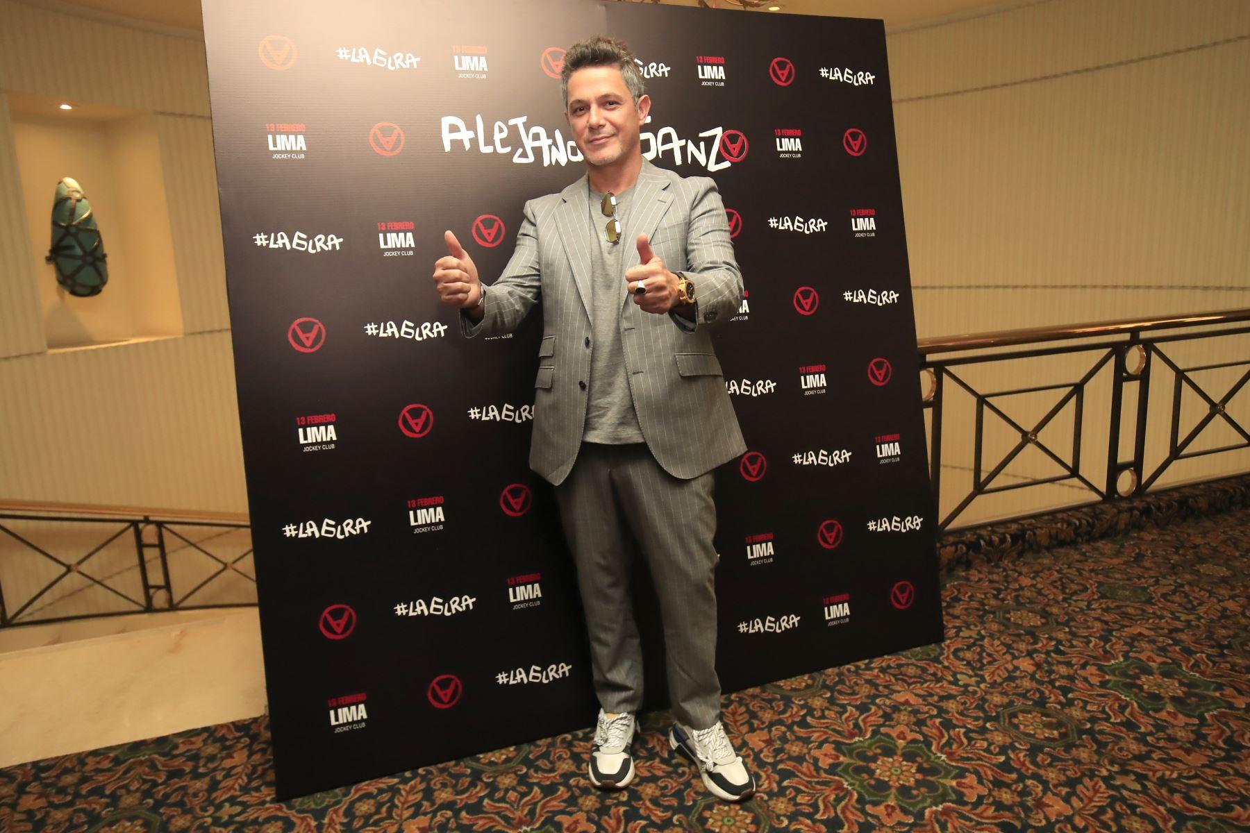 Alejandro Sanz en conferencia de prensa en el Swiss Hotel:  Foto: ANDINA / Juan Carlos Guzmán Negrini.