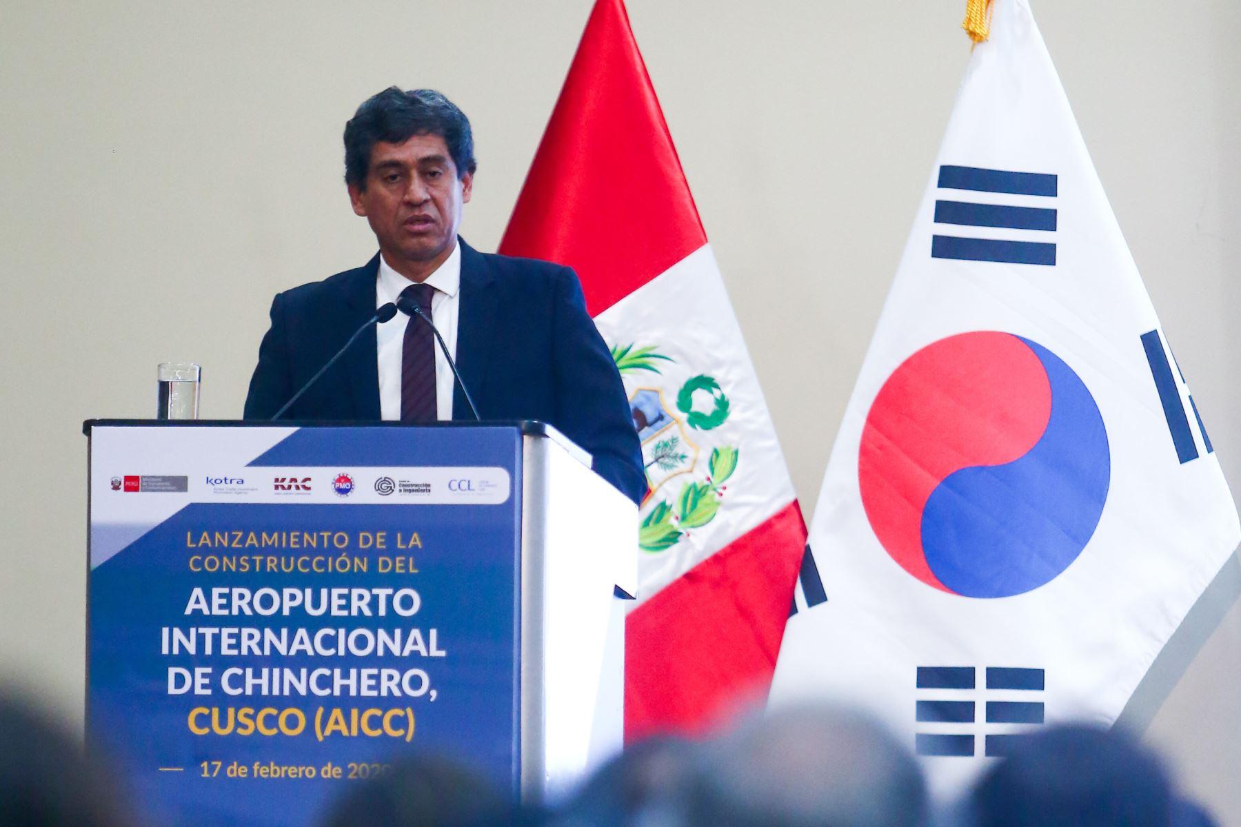 Ministro de Transportes y Comunicaciones, Carlos Lozada, destaca que el Aeropuerto Internacional de Chinchero fomentará el desarrollo económico del Cusco. Foto: ANDINA/ Jhonel Rodríguez